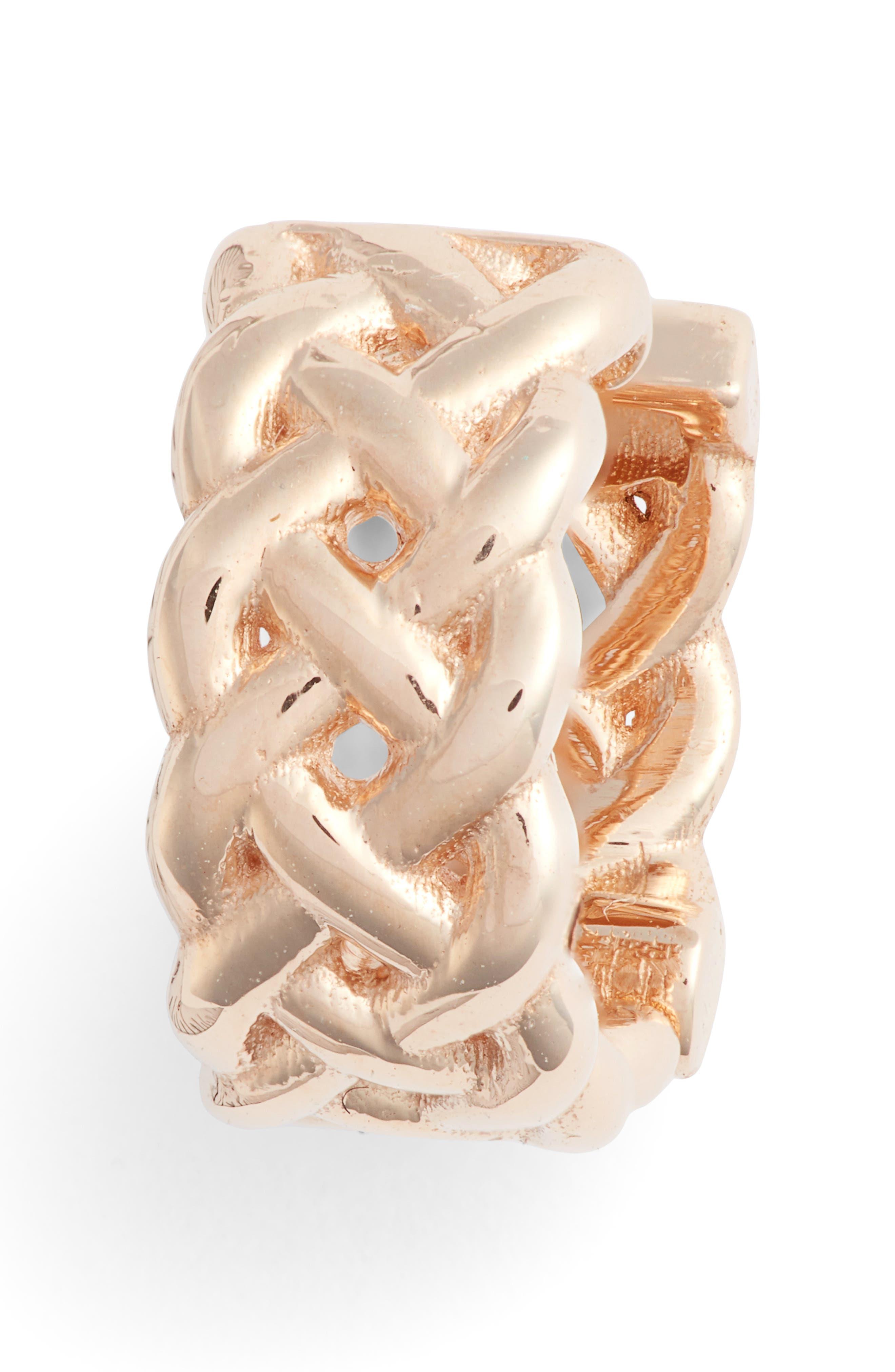 KISMET BY MILKA Single Braided Gold Hoop Earring, Main, color, ROSE GOLD