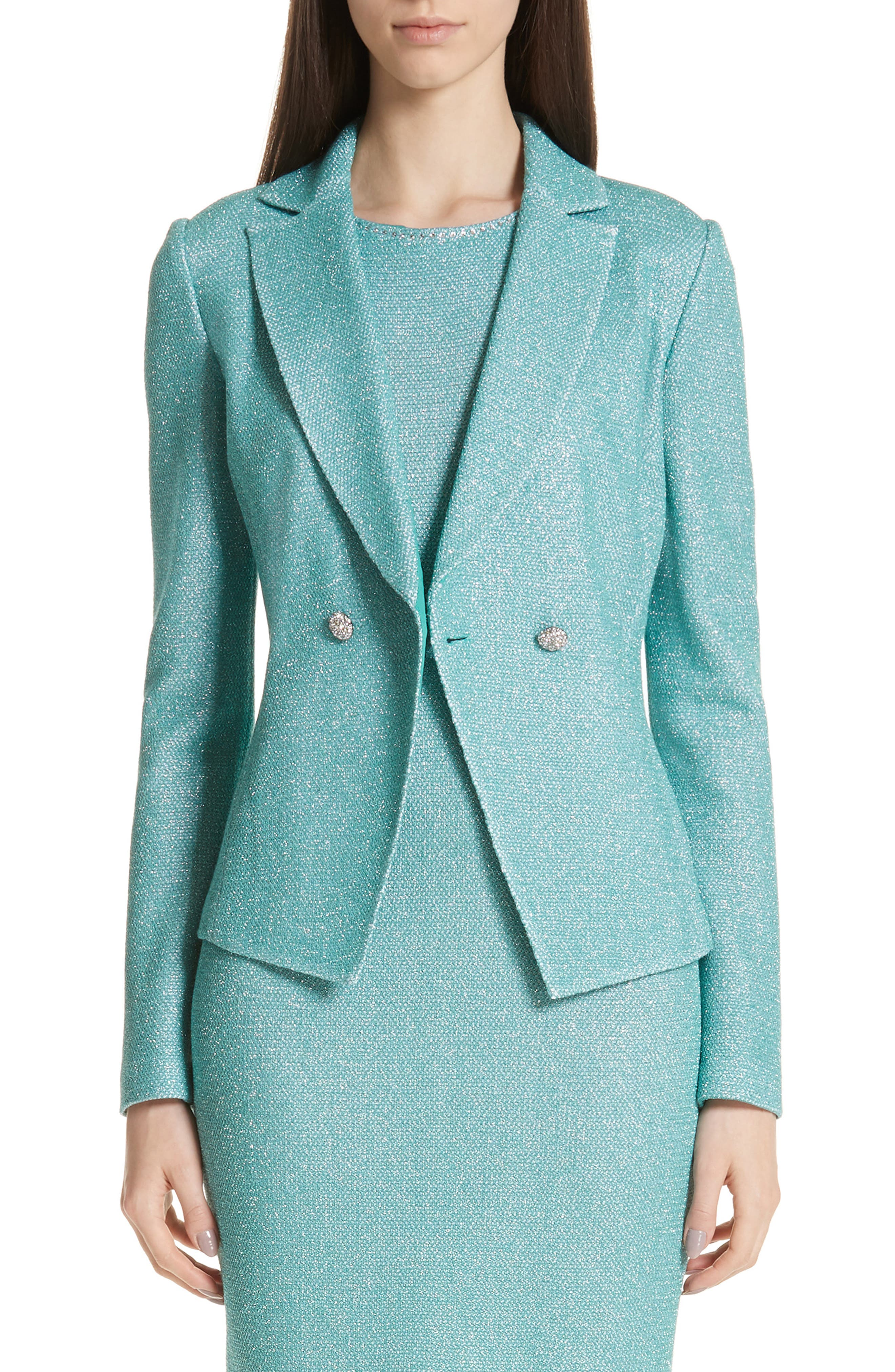 ST. JOHN COLLECTION, Bailey Knit Double Breasted Blazer, Main thumbnail 1, color, LAGOON