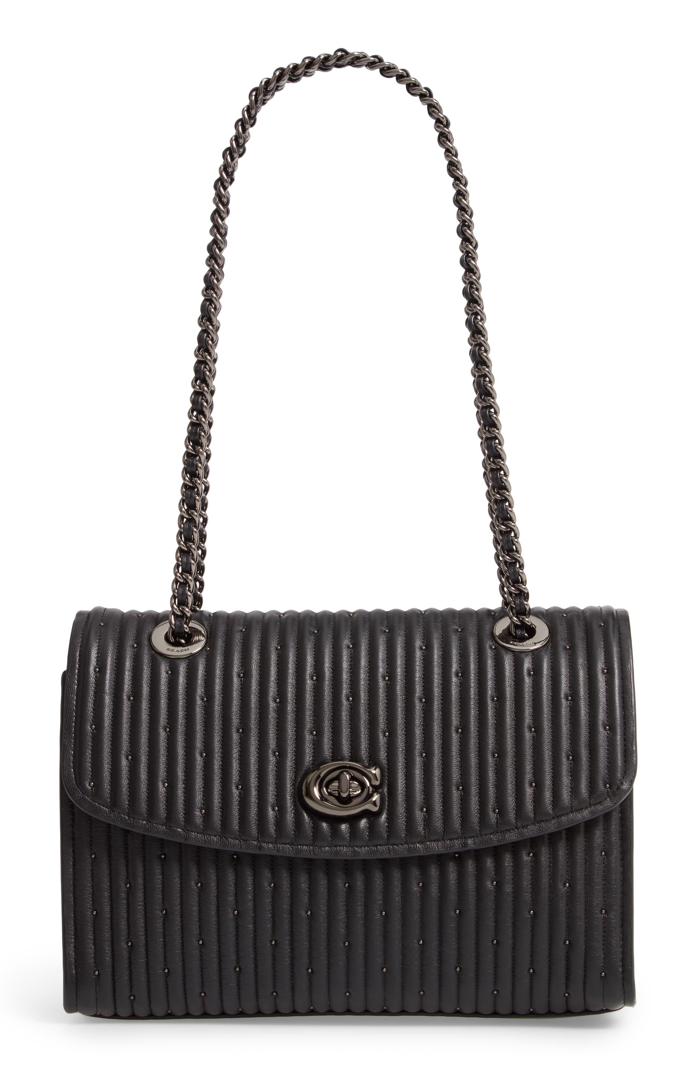 COACH, Parker Quilted Leather Shoulder Bag, Main thumbnail 1, color, BLACK