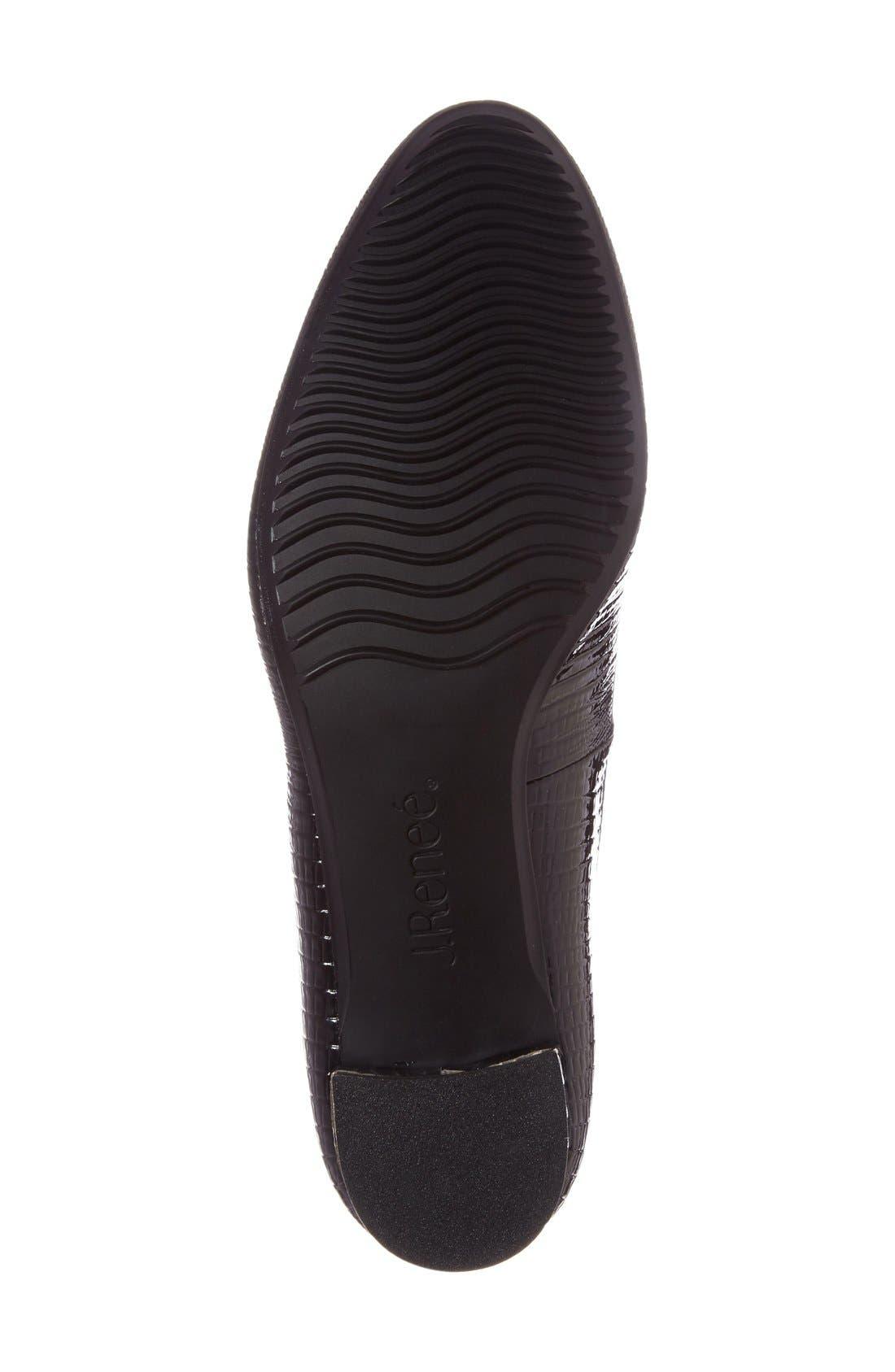 J. RENEÉ, Bambalina Block Heel Pump, Alternate thumbnail 4, color, BLACK FAUX LEATHER