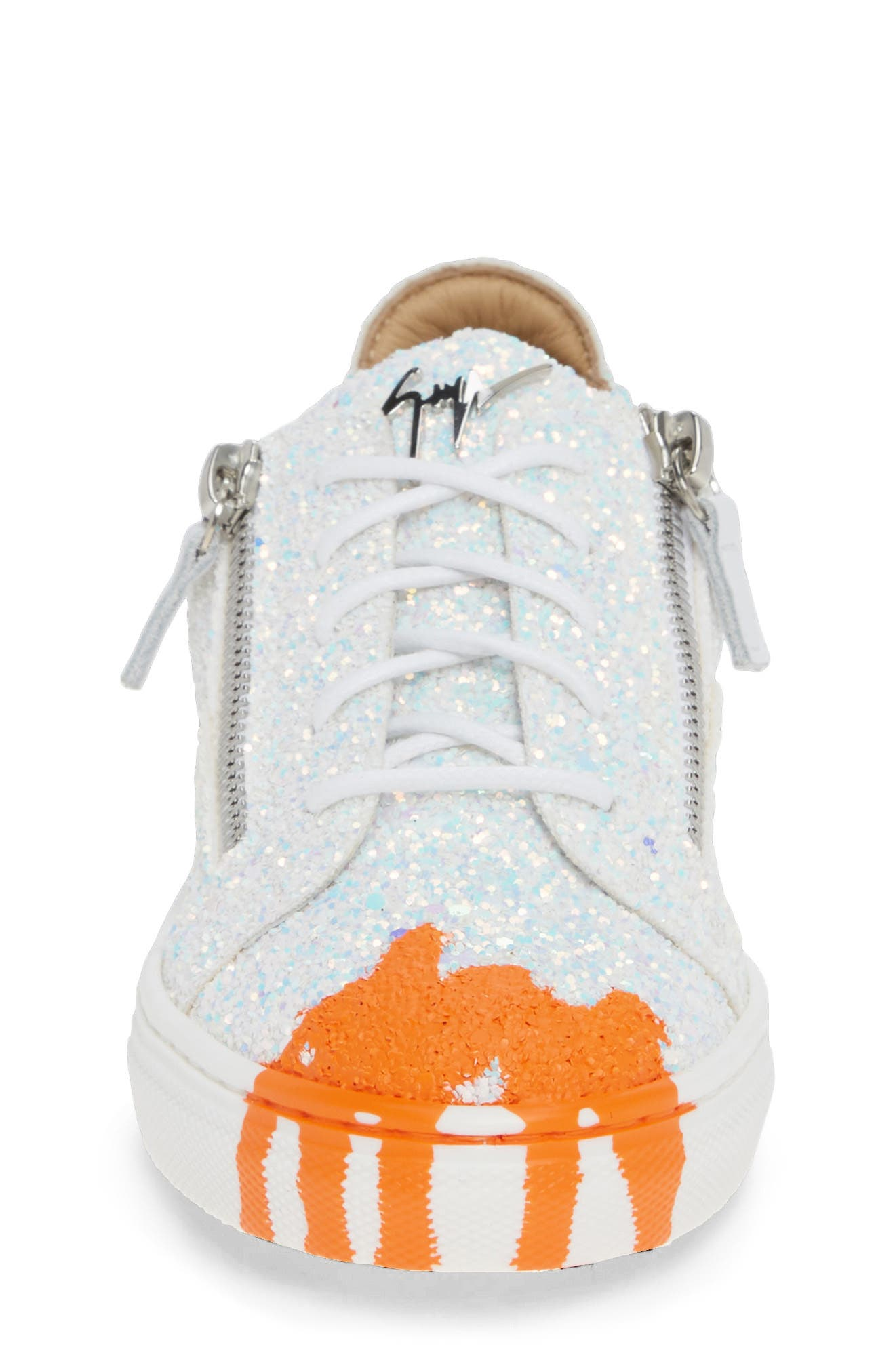 GIUSEPPE ZANOTTI, London Glitter Sneaker, Alternate thumbnail 4, color, MILK