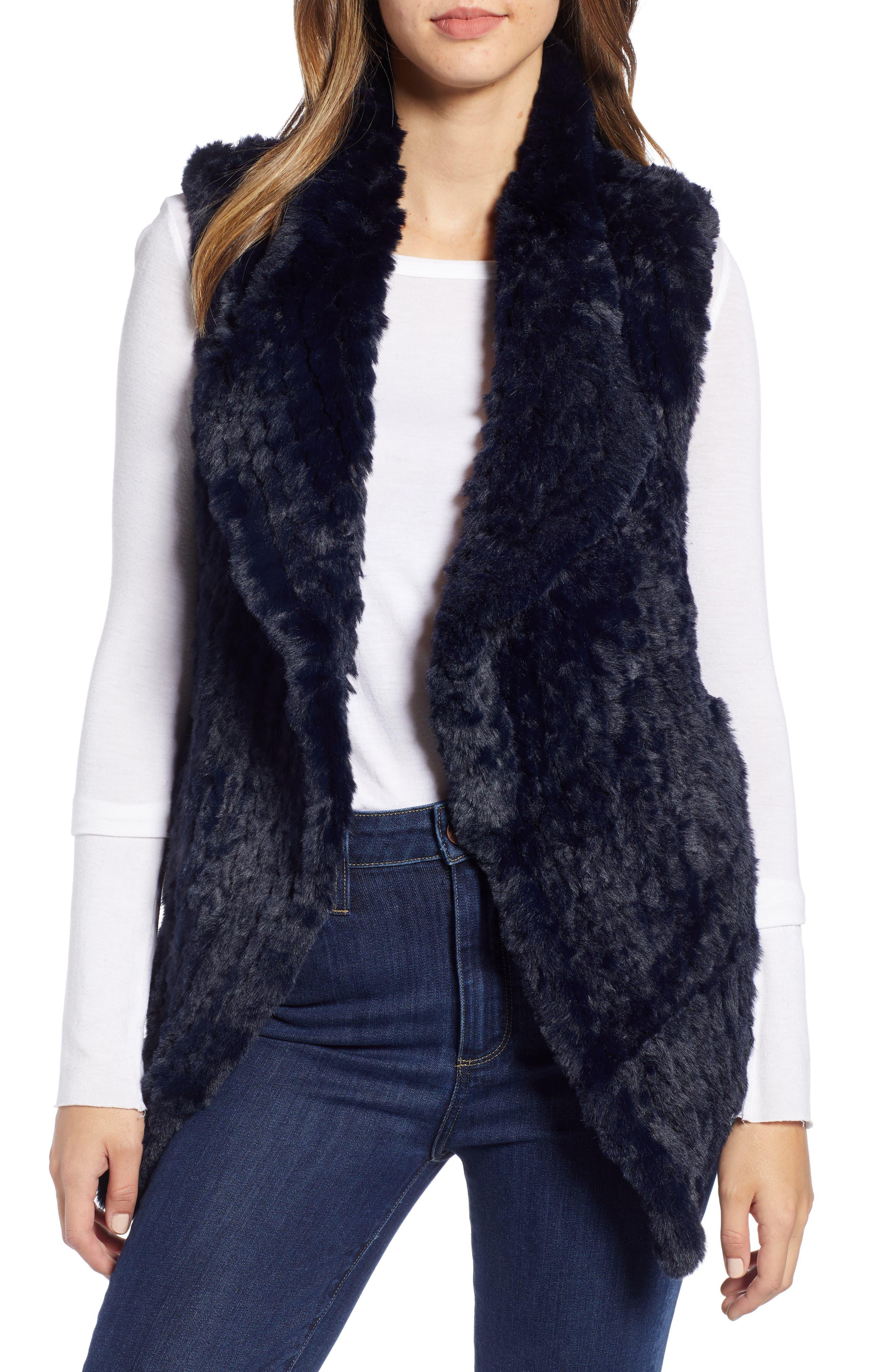 LOVE TOKEN Faux Fur Vest, Main, color, NAVY