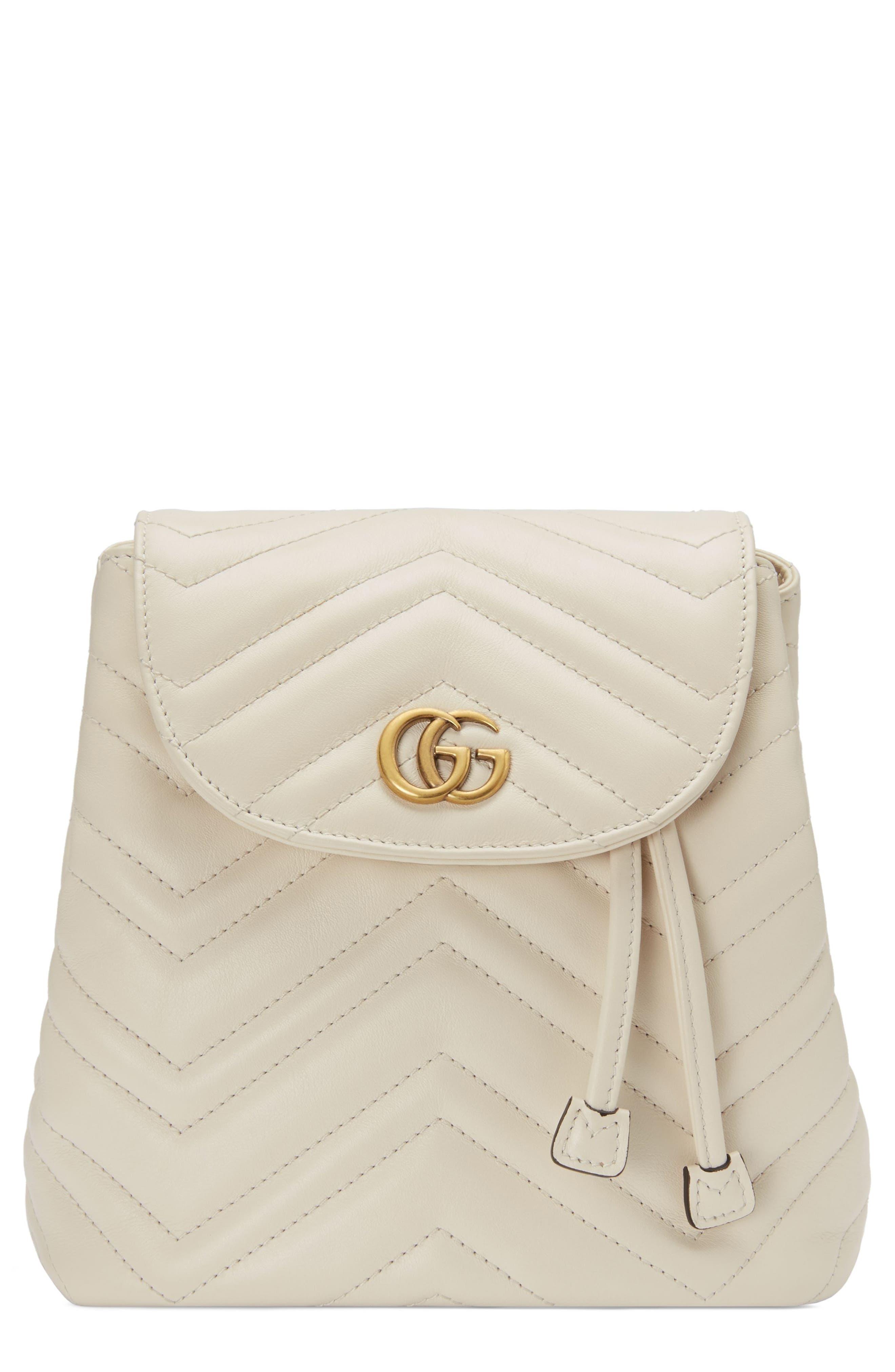 GUCCI, GG Marmont 2.0 Matelassé Leather Mini Backpack, Main thumbnail 1, color, MYSTIC WHITE