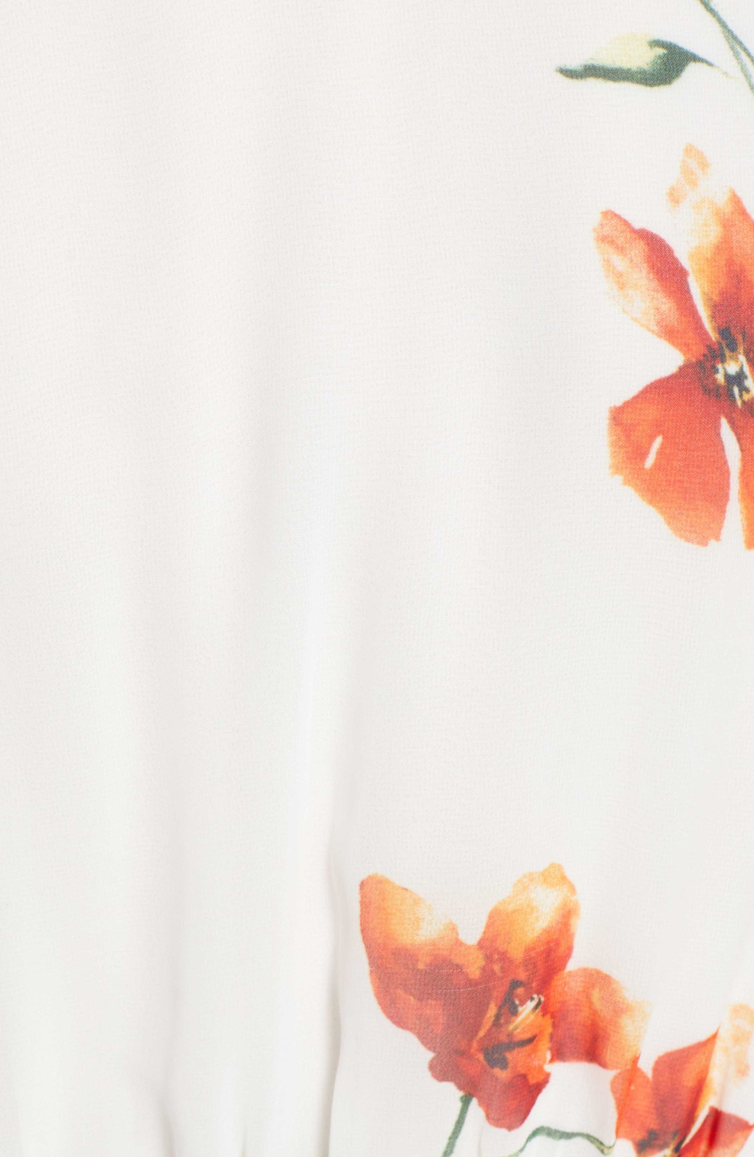 ROW A, Twist Front Midi Dress, Alternate thumbnail 6, color, IVORY ORANGE FLORAL