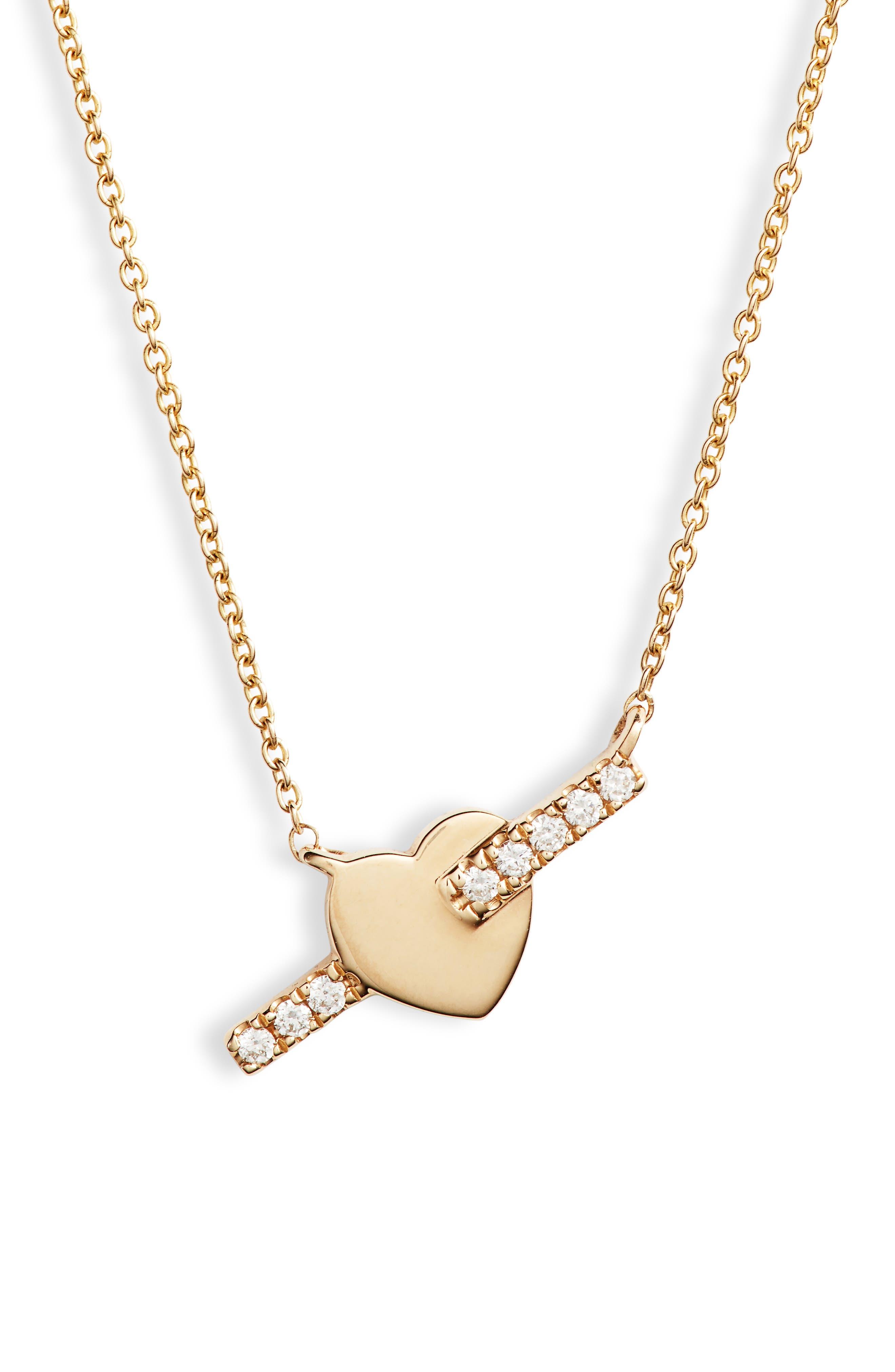 DANA REBECCA DESIGNS, Dana Rebecca Livi Gold Heart Bar Diamond Necklace, Main thumbnail 1, color, YELLOW GOLD/ DIAMOND