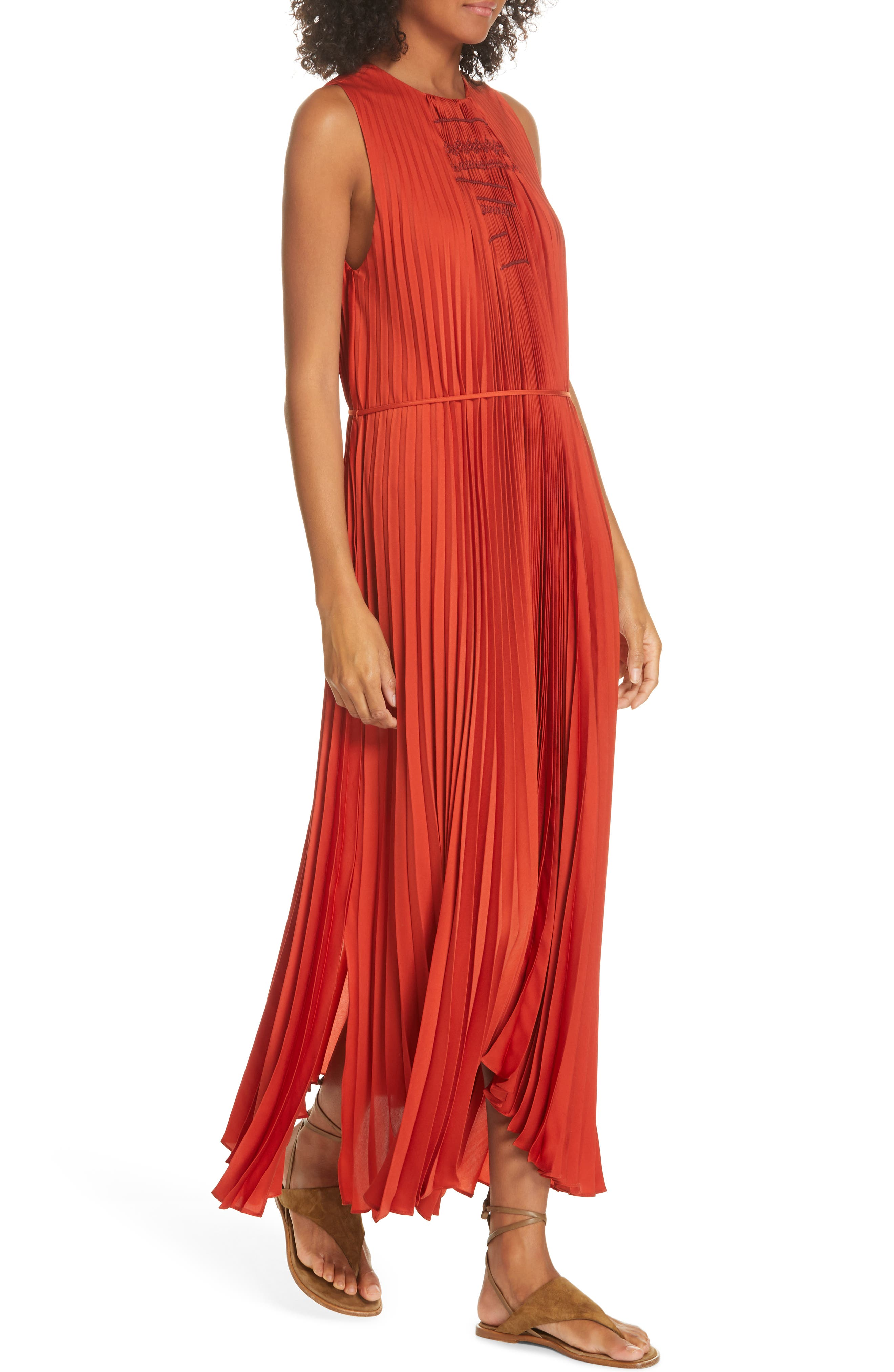 VINCE, Smocked Maxi Dress, Alternate thumbnail 5, color, ADOBE RED