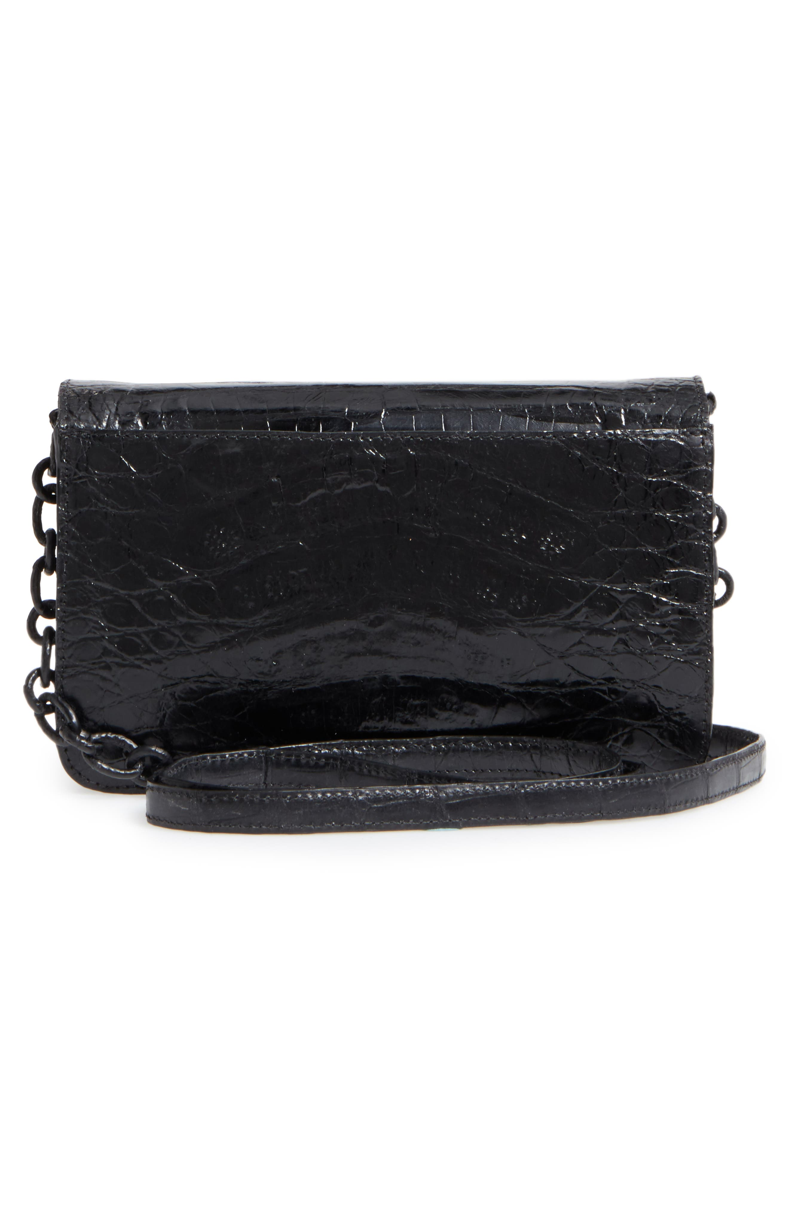 NANCY GONZALEZ, Genuine Crocodile Wallet on a Chain, Alternate thumbnail 3, color, BLACK SHINY