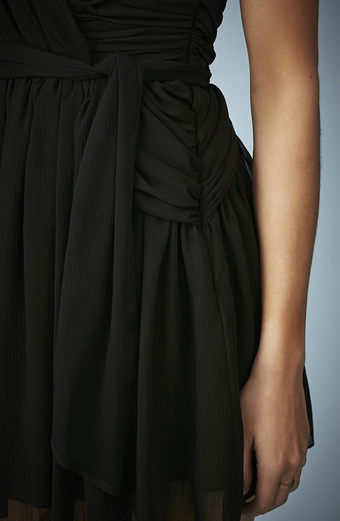 TOPSHOP, Kate Moss for Topshop One-Shoulder Chiffon Dress, Alternate thumbnail 2, color, 001
