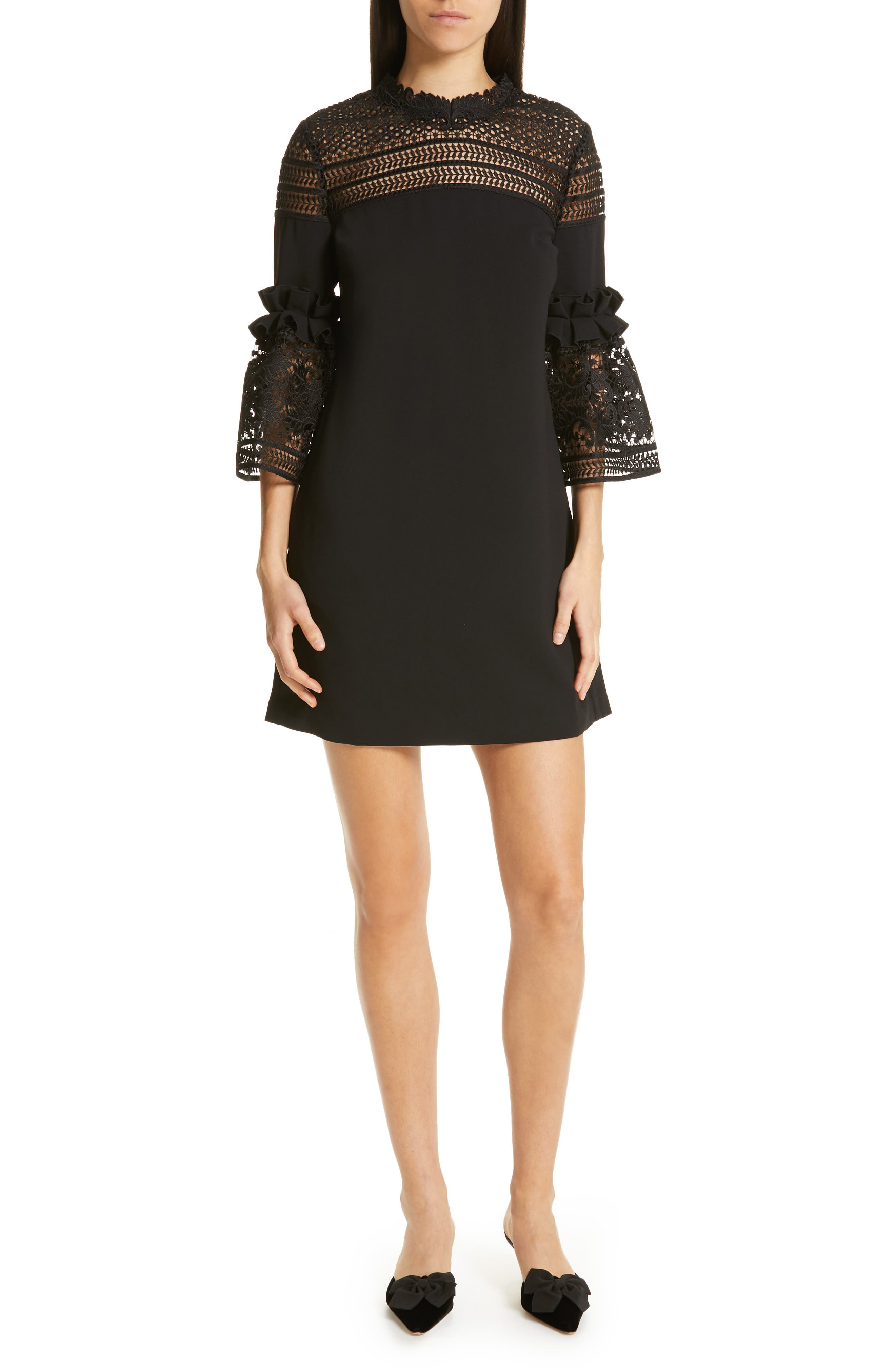 TED BAKER LONDON, Lace Panel Bell Sleeve Tunic Dress, Main thumbnail 1, color, BLACK