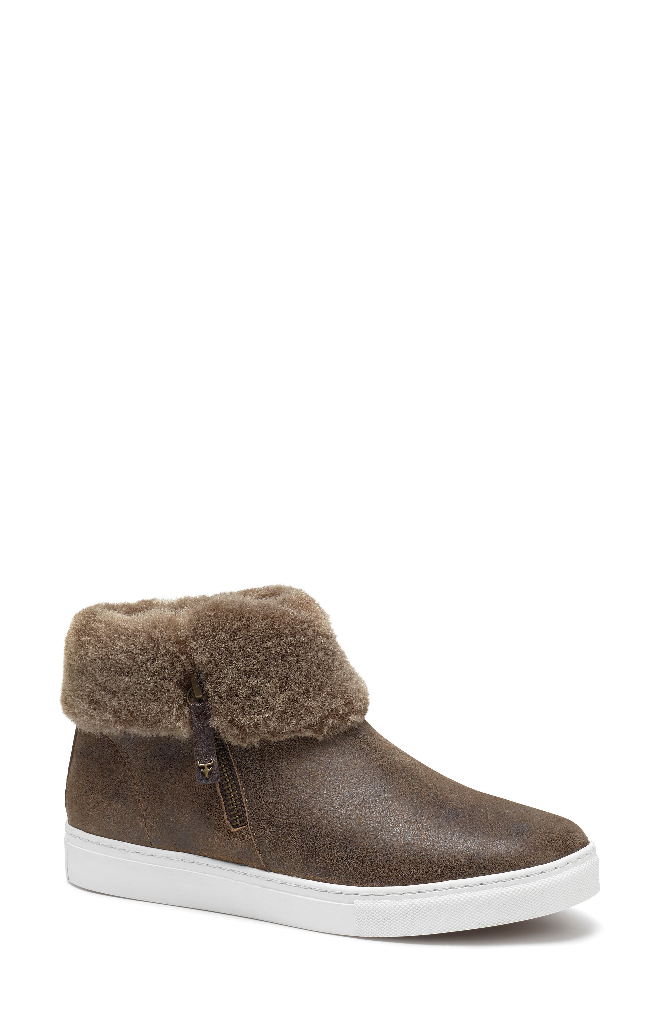 TRASK, Lexi Genuine Shearling Sneaker, Main thumbnail 1, color, BROWN LEATHER