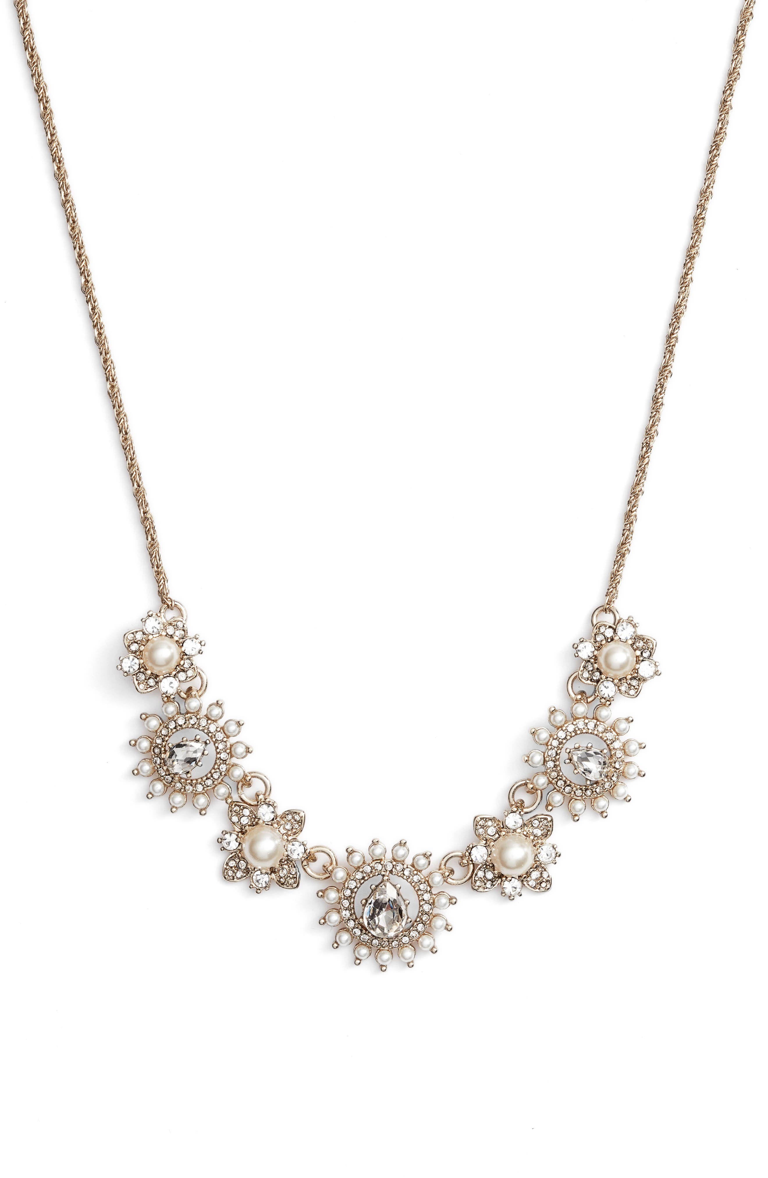 MARCHESA Frontal Necklace, Main, color, GOLD/ WHITE/ CRYSTAL