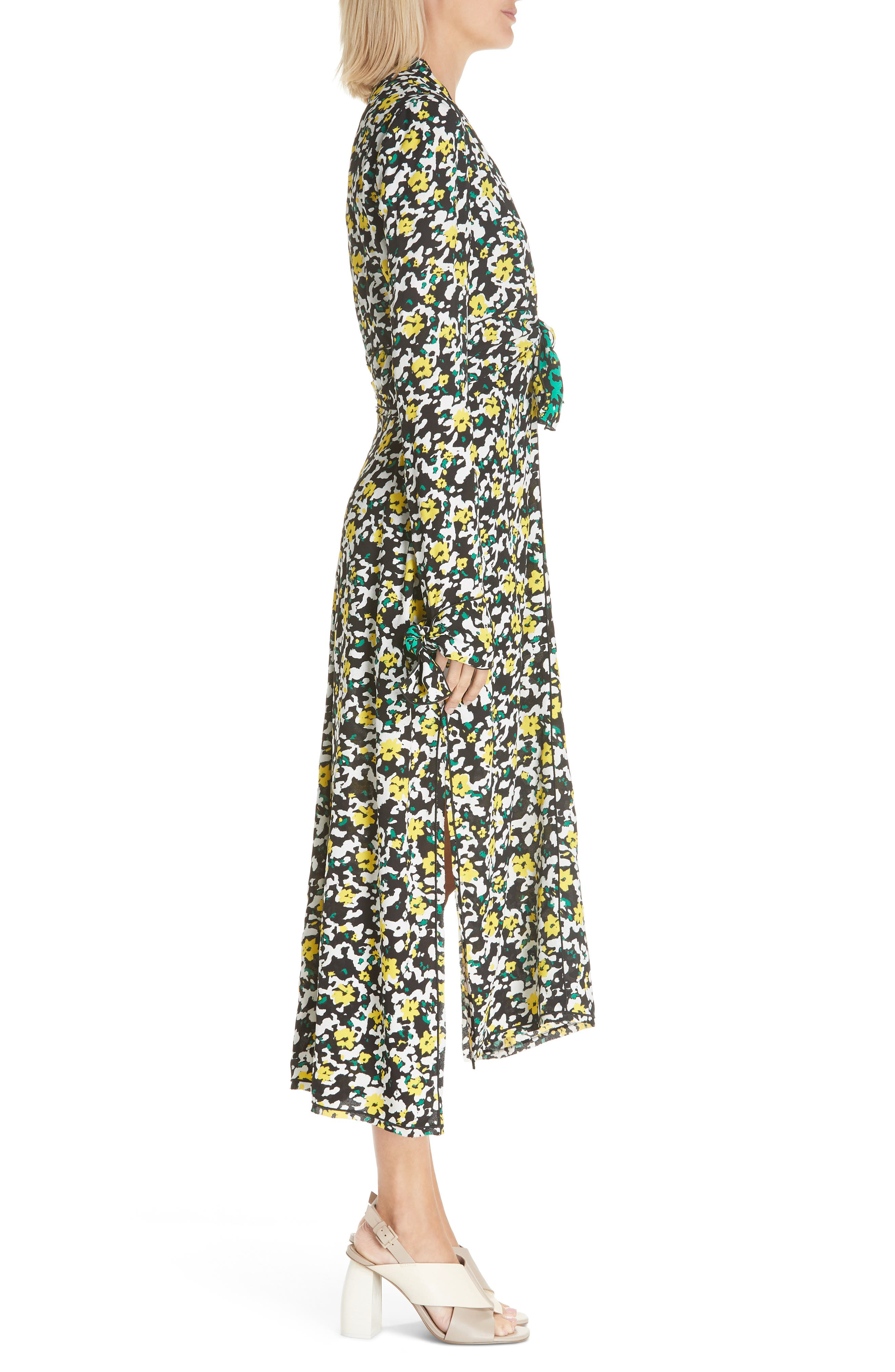 PROENZA SCHOULER, Floral Print Knotted Midi Dress, Alternate thumbnail 4, color, WHITE WILDFLOWER
