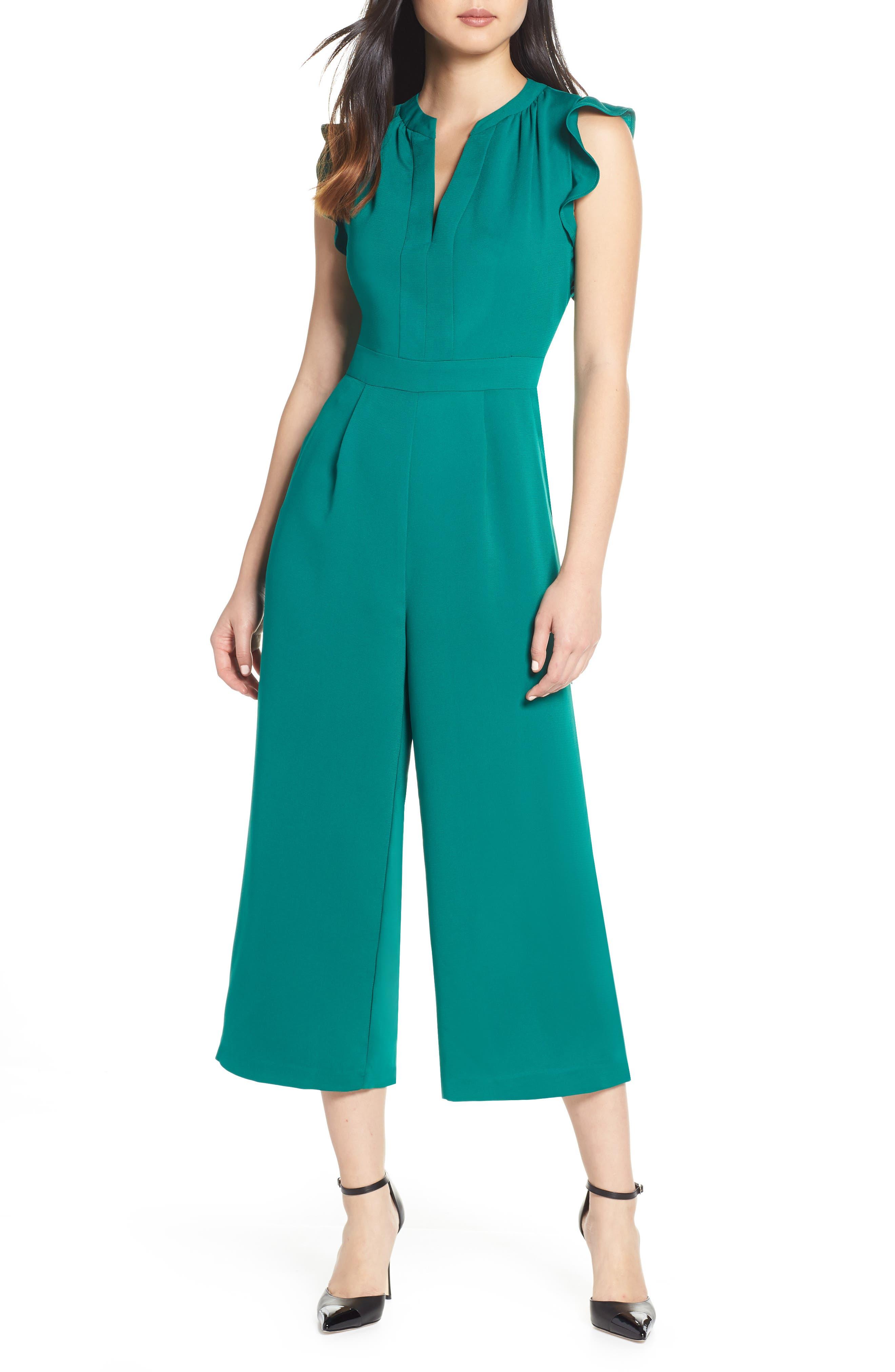 VINCE CAMUTO Ruffle Wide Leg Crop Jumpsuit, Main, color, EMERALD