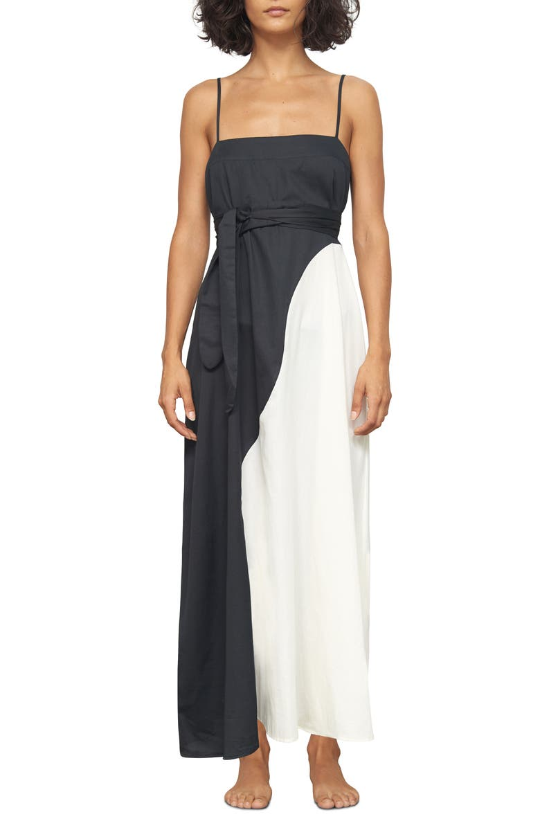5d4ab6aa5145b Mara Hoffman Philomena Two-Tone Organic Cotton-Voile Maxi Dress In Black