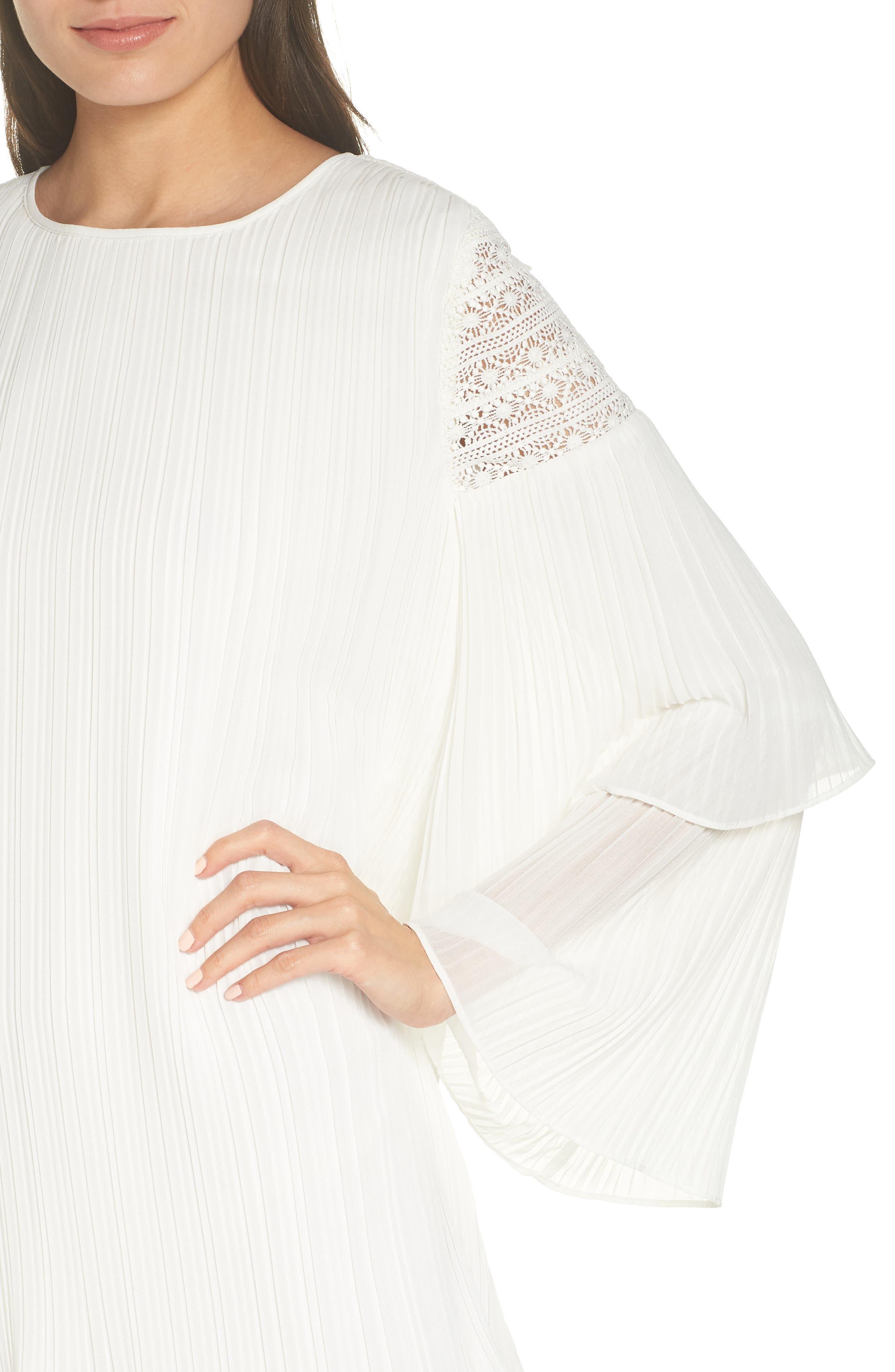 ALI & JAY, Waterlily Pleated Minidress, Alternate thumbnail 5, color, WHITE