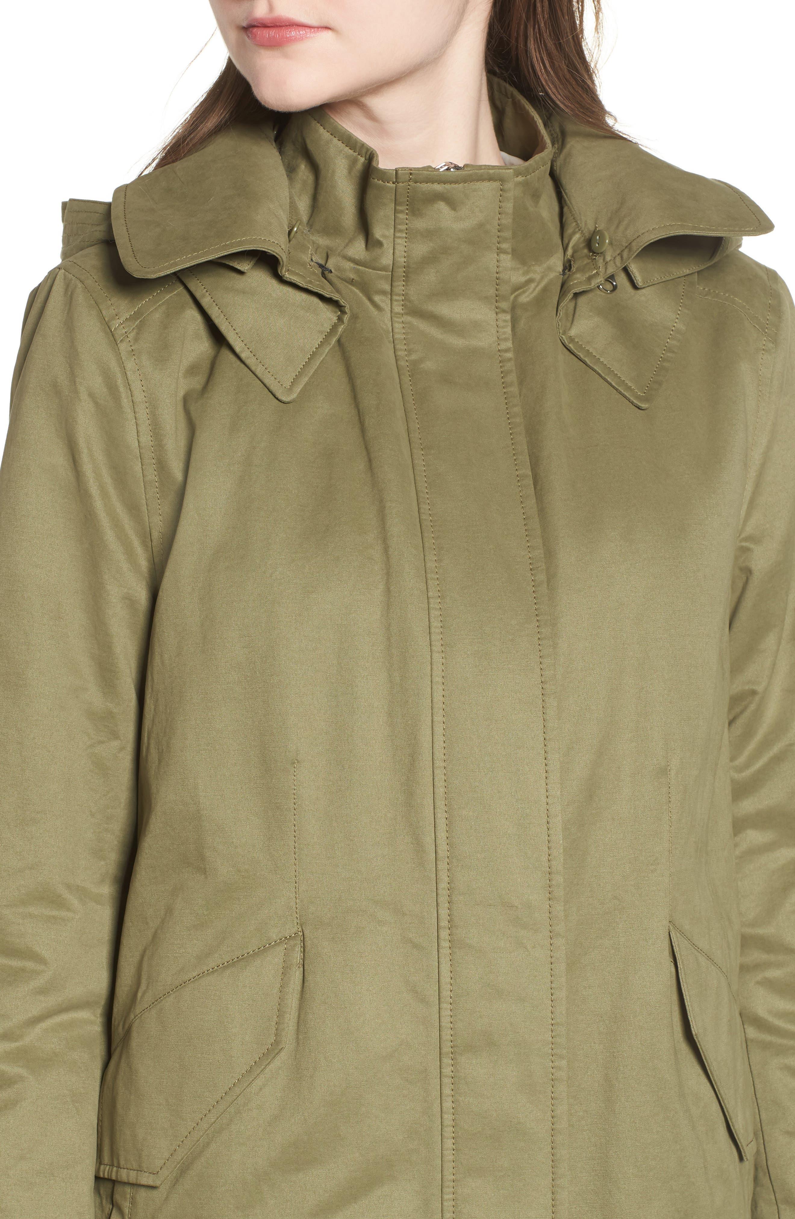 DEREK LAM 10 CROSBY, Genuine Fox Fur Trim Cotton Blend Parka, Alternate thumbnail 5, color, LODEN