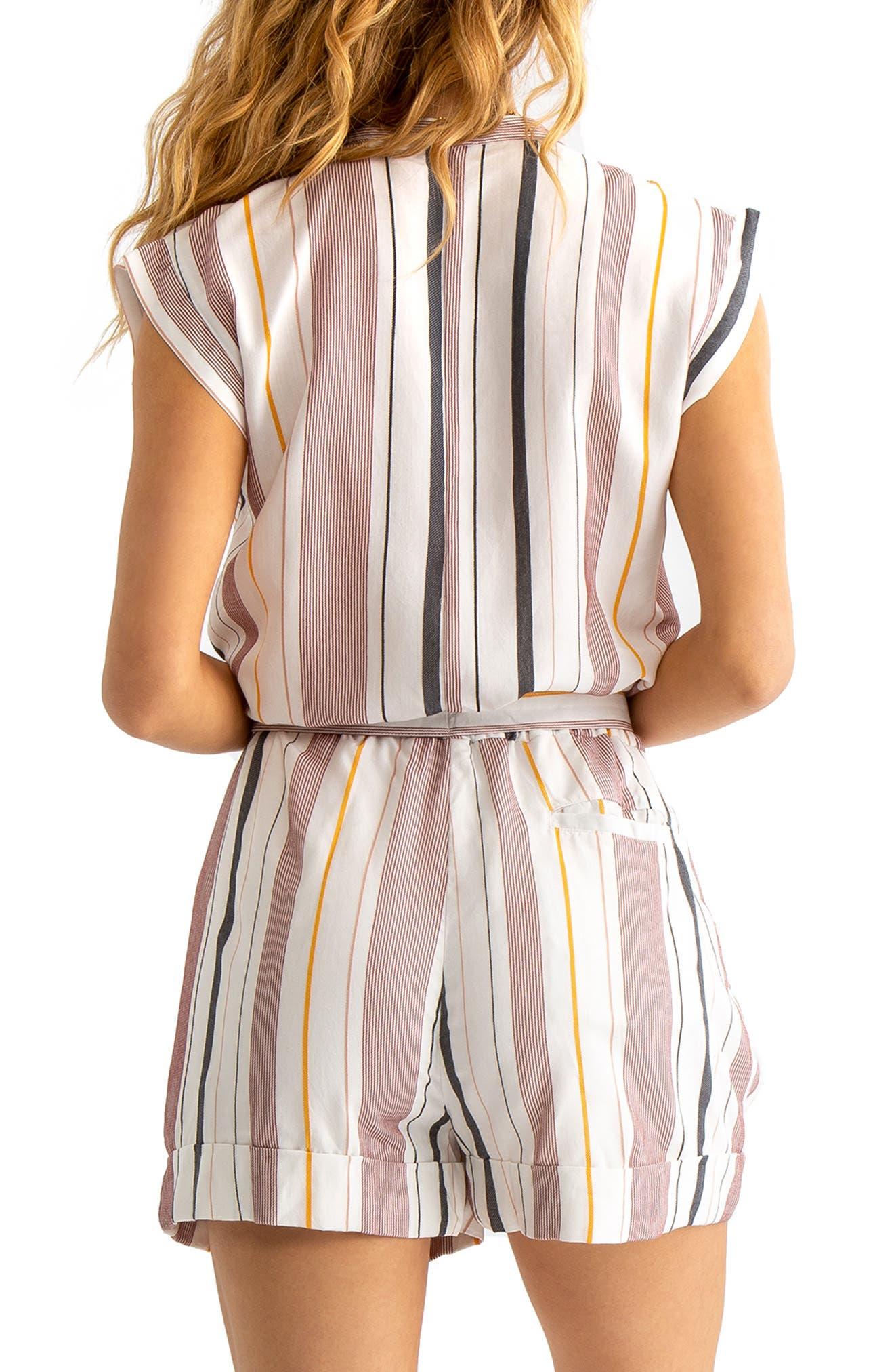 TAVIK, Tess Cover-Up Romper, Alternate thumbnail 2, color, WHITE/ BERRY STRIPE