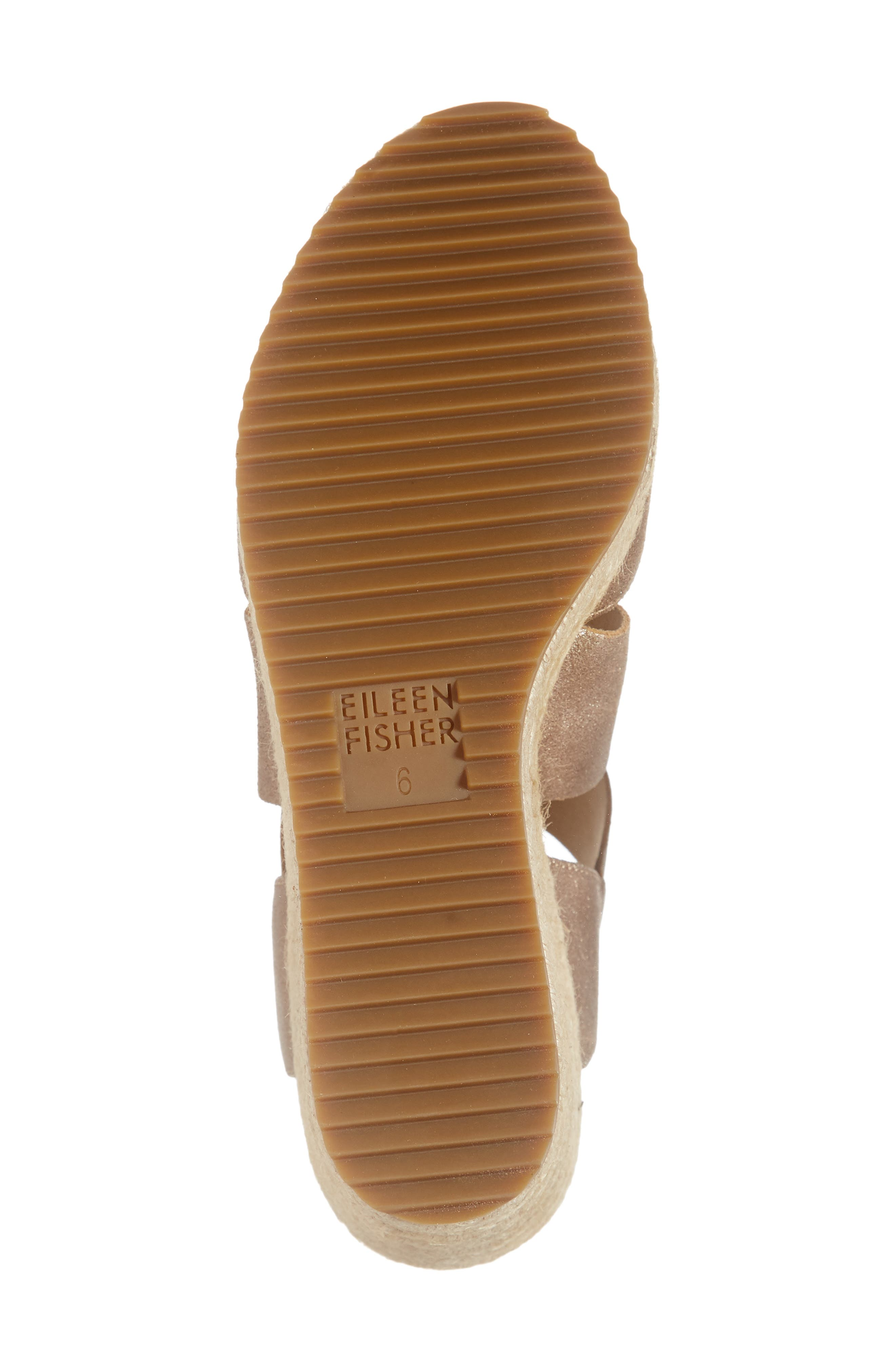 EILEEN FISHER, 'Willow' Espadrille Wedge Sandal, Alternate thumbnail 6, color, BRONZE/ BRONZE LEATHER