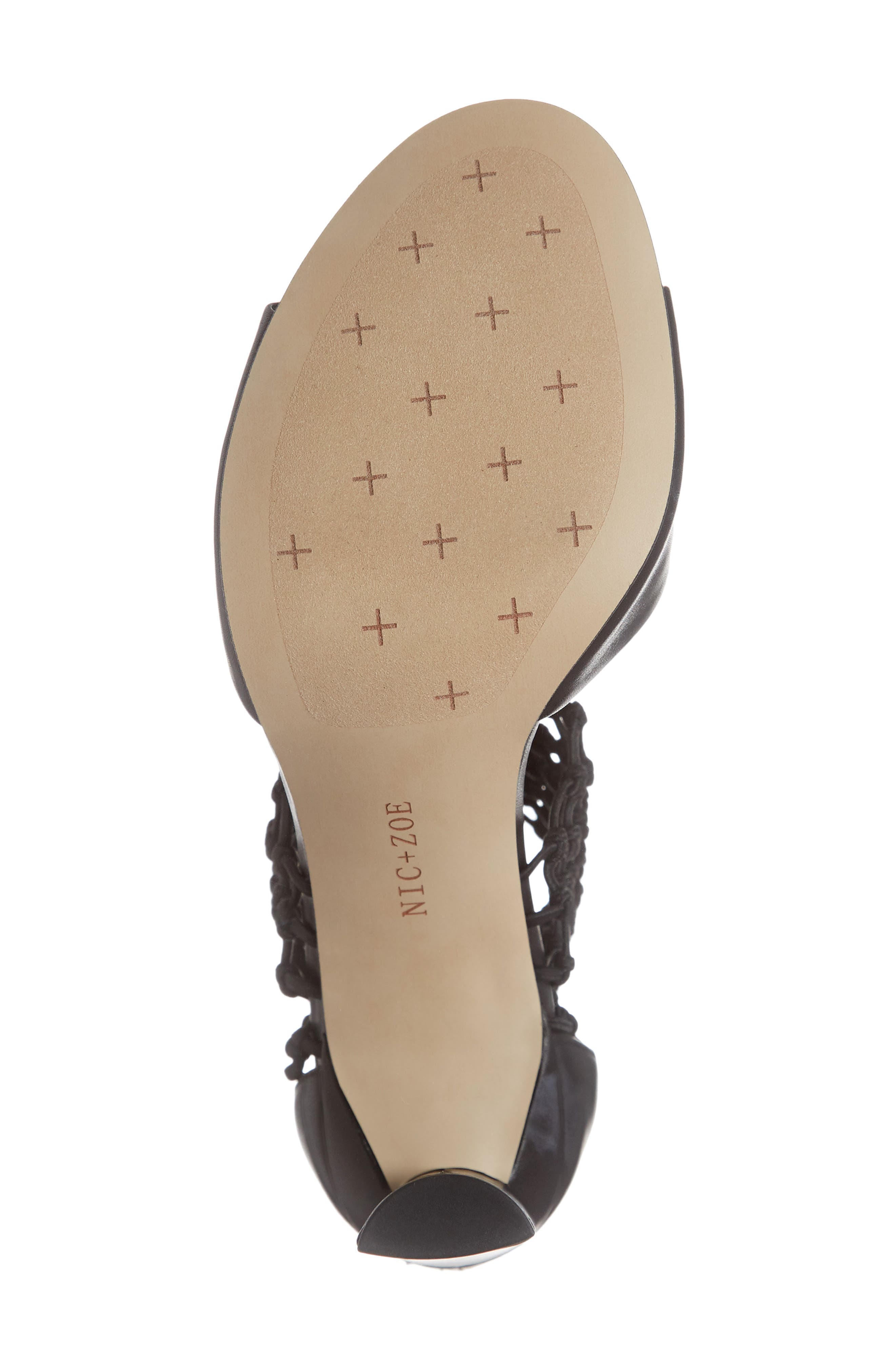 NIC+ZOE, Nobel Net Shield Sandal, Alternate thumbnail 6, color, BLACK LEATHER