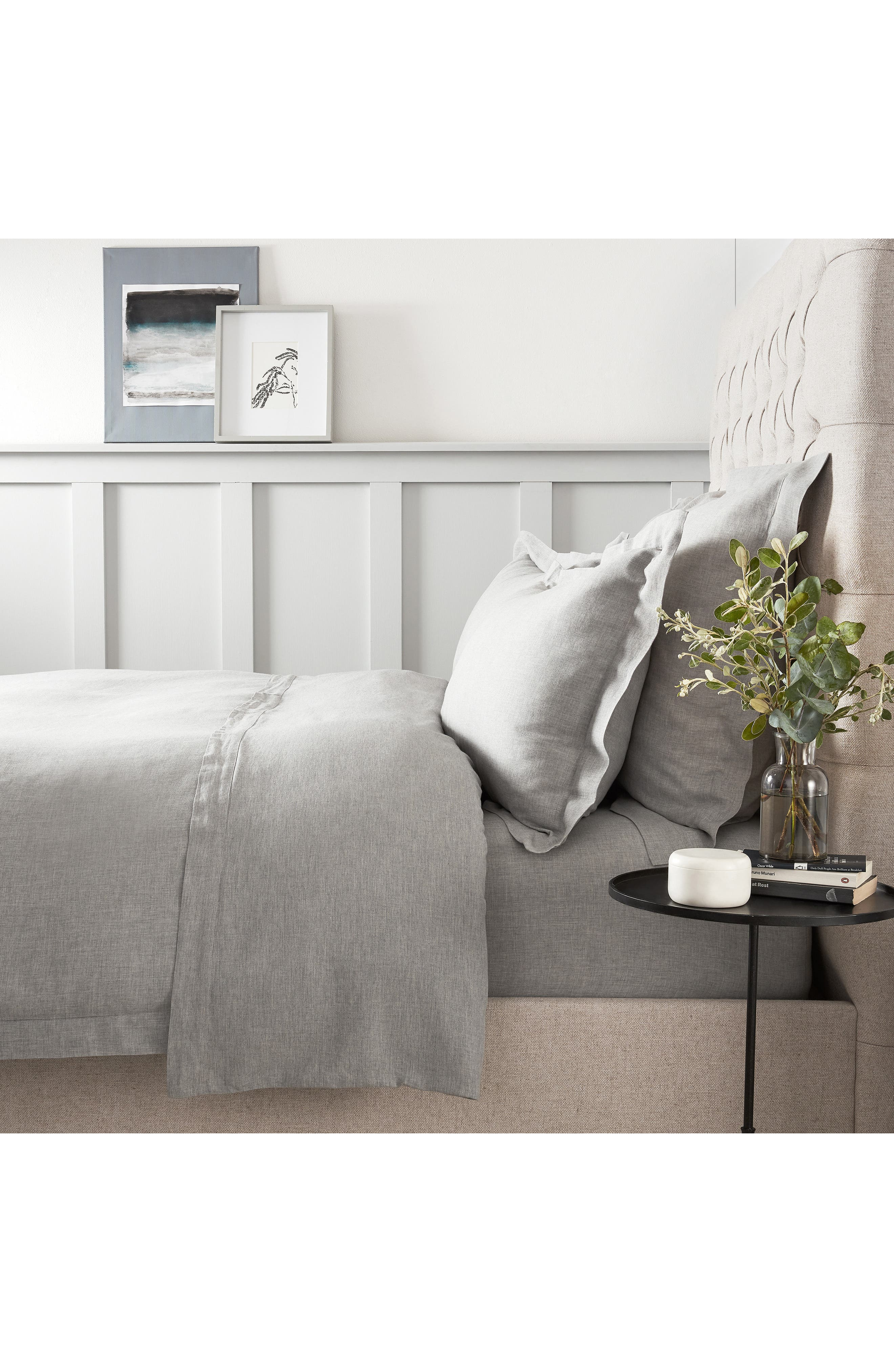 THE WHITE COMPANY, Evesham Duvet Cover, Main thumbnail 1, color, CHARCOAL GREY