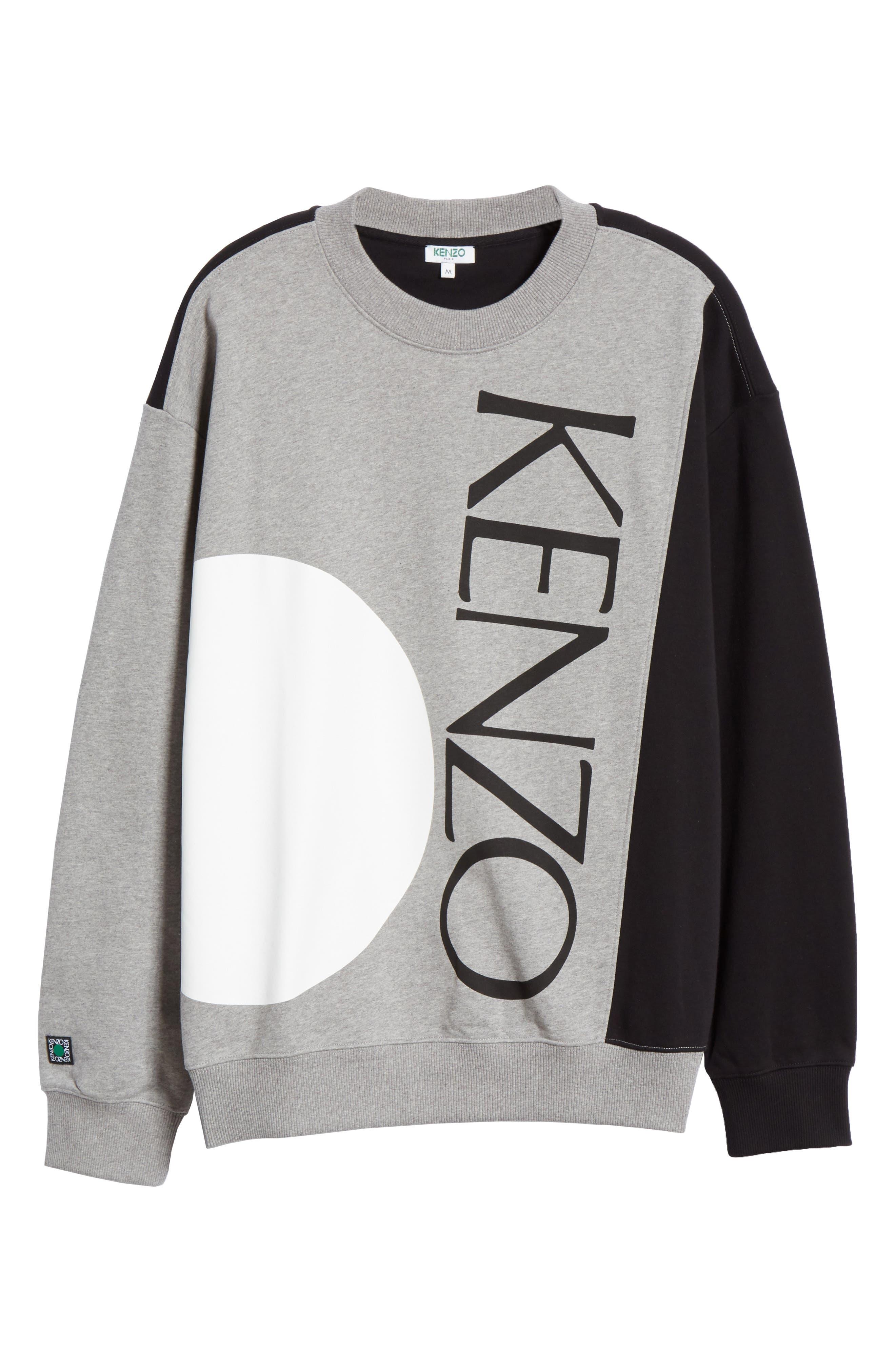KENZO, Oversize Colorblock Sweatshirt, Alternate thumbnail 6, color, DOVE GREY
