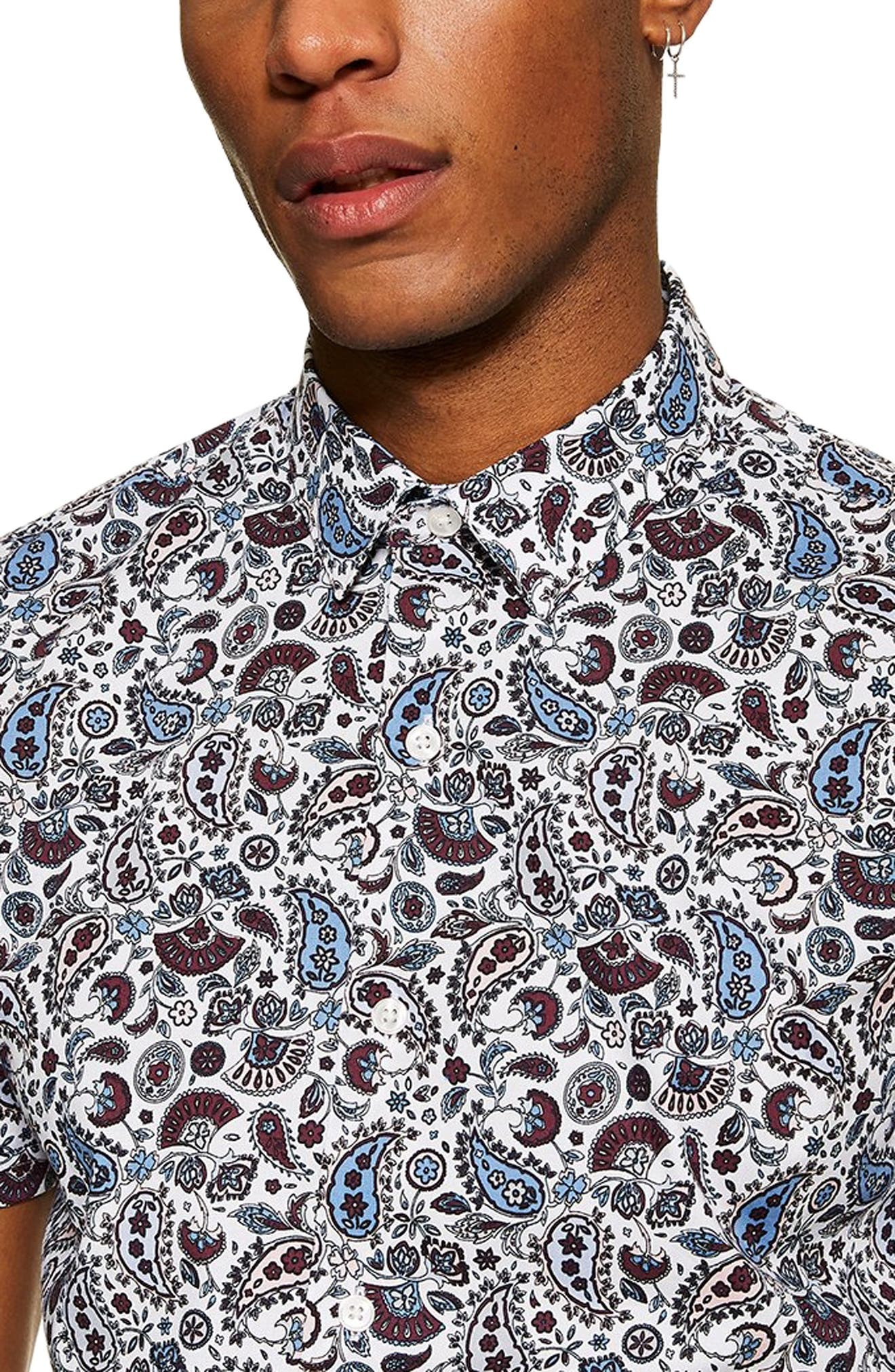 TOPMAN, Paisley Print Slim Fit Shirt, Alternate thumbnail 2, color, BLUE MULTI