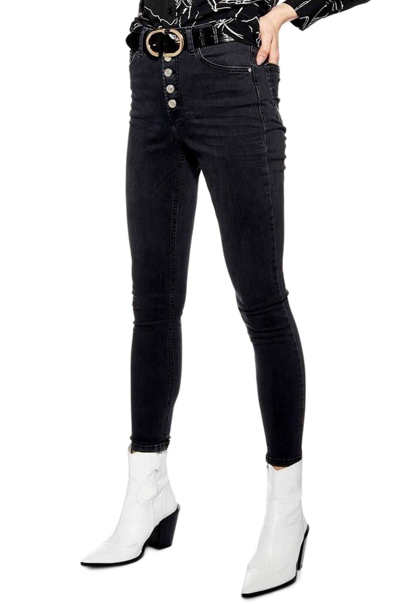TOPSHOP, Jamie Moto Skinny Jeans, Main thumbnail 1, color, WASHED BLACK