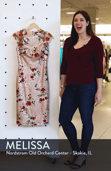 Sequin & Embroidery Sheath Dress, sales video thumbnail