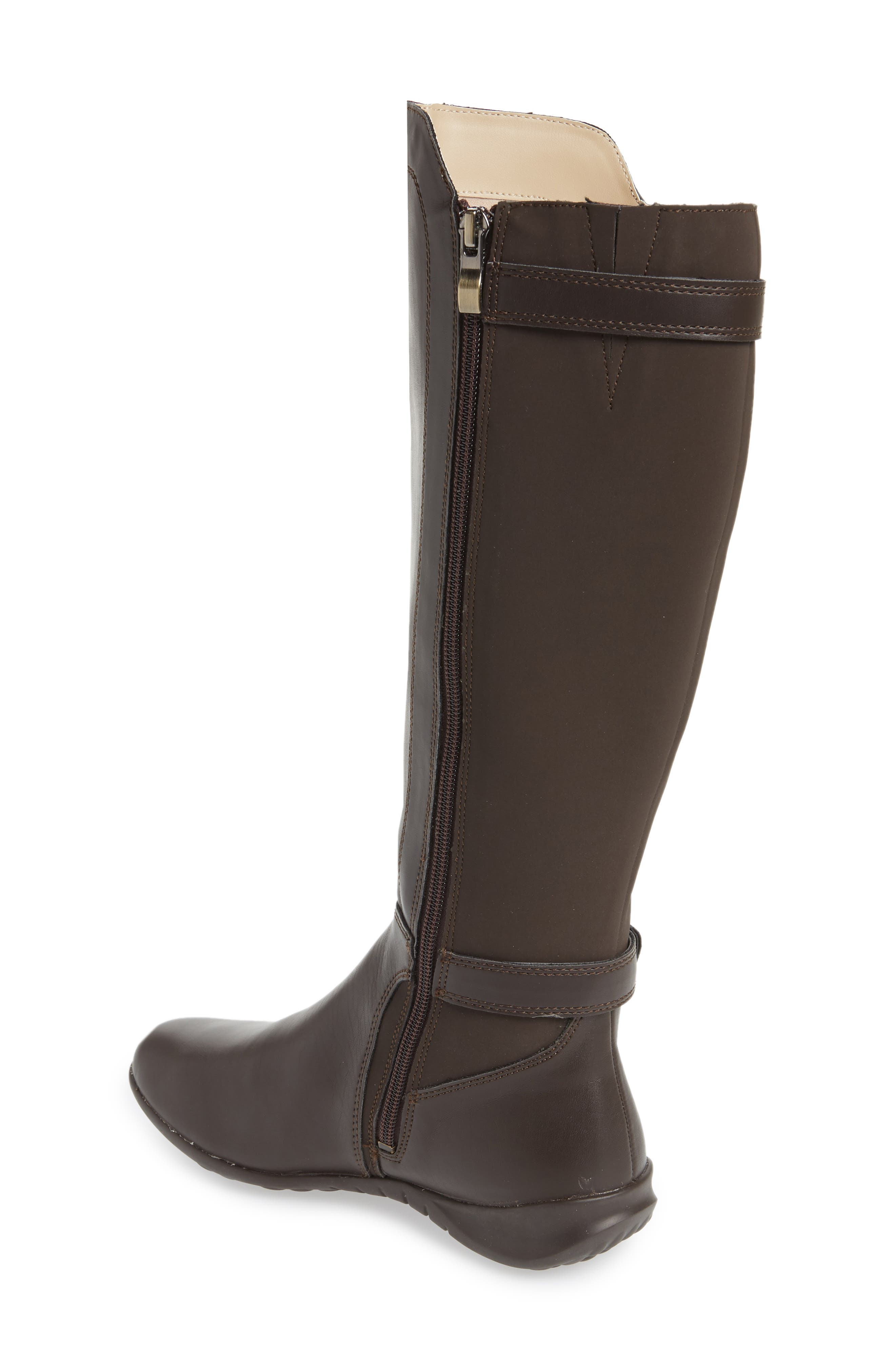 HUSH PUPPIES<SUP>®</SUP>, Bria Knee High Boot, Alternate thumbnail 2, color, DARK BROWN FAUX LEATHER