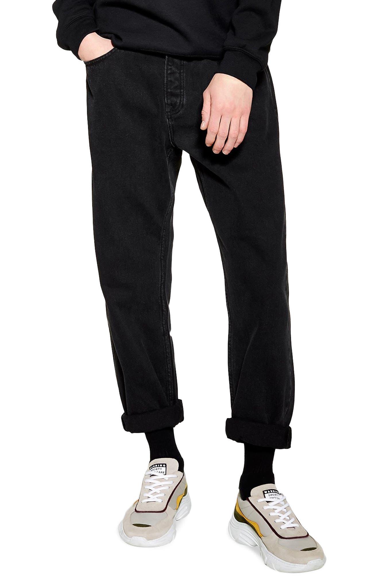 TOPMAN, Larry Original Fit Jeans, Main thumbnail 1, color, BLACK