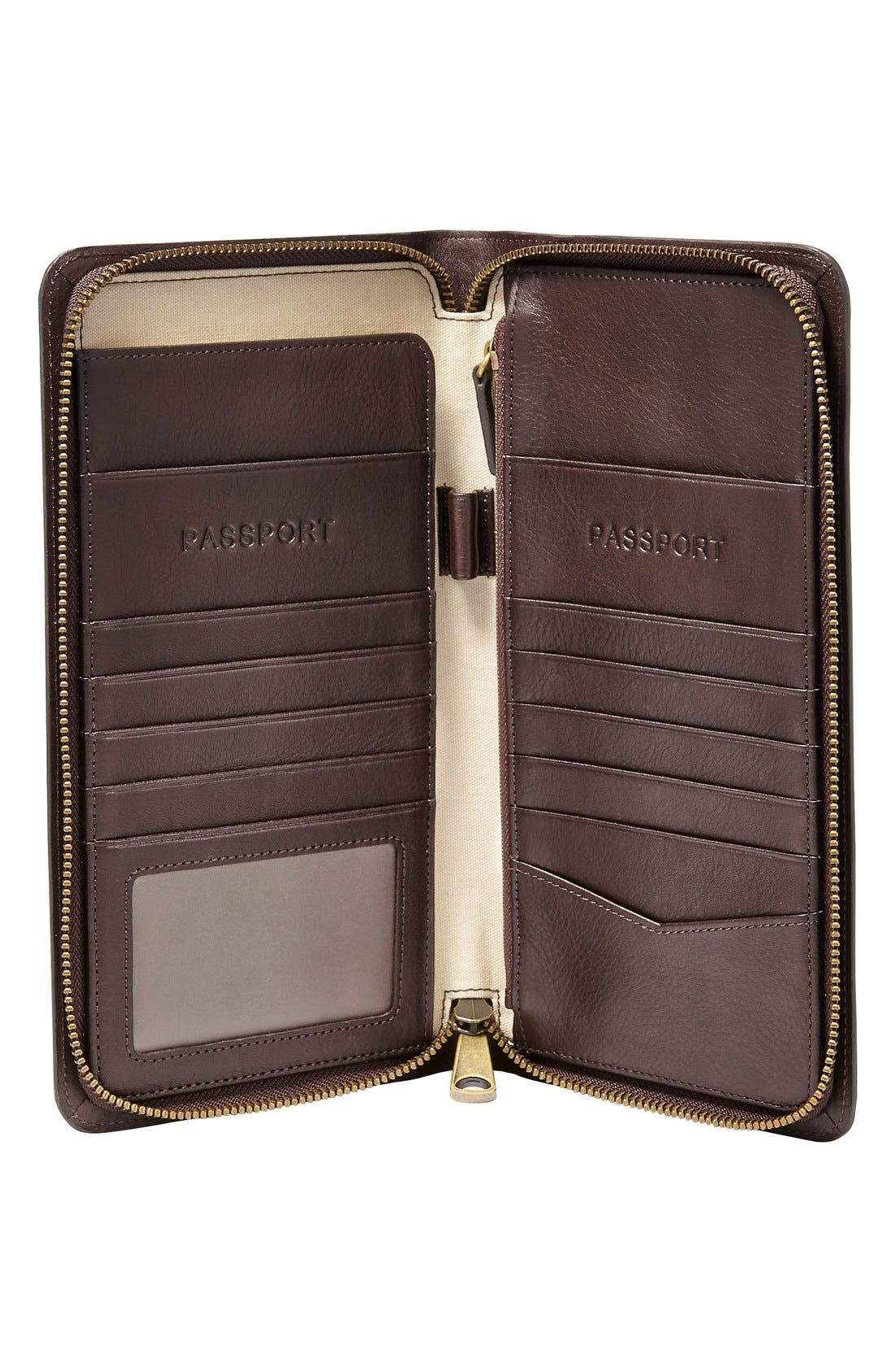 FOSSIL, Leather Zip Passport Case, Alternate thumbnail 2, color, 201