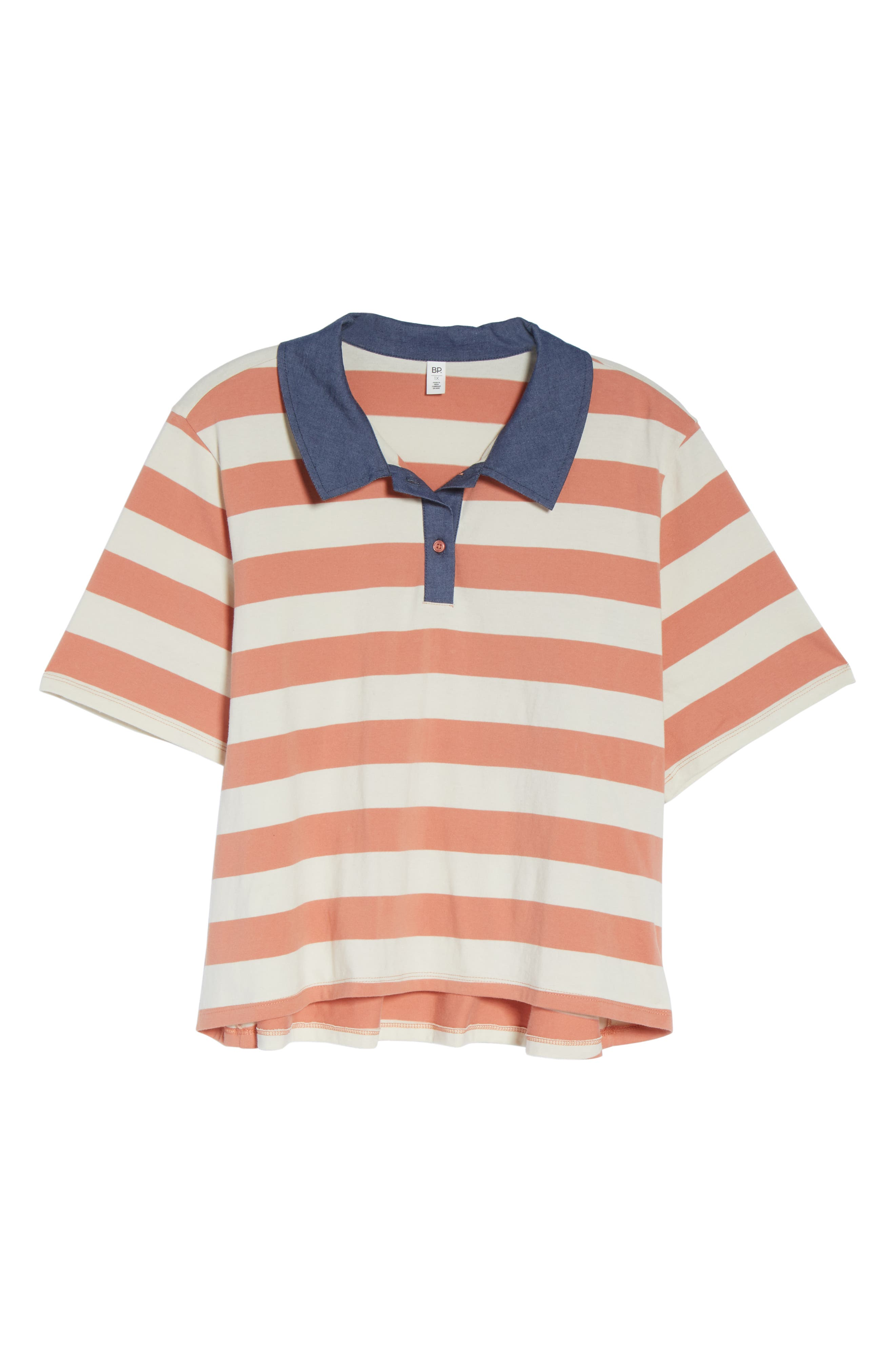BP., Chambray Collar Polo, Alternate thumbnail 12, color, CORAL CLAY ROCKYPORT STRIPE
