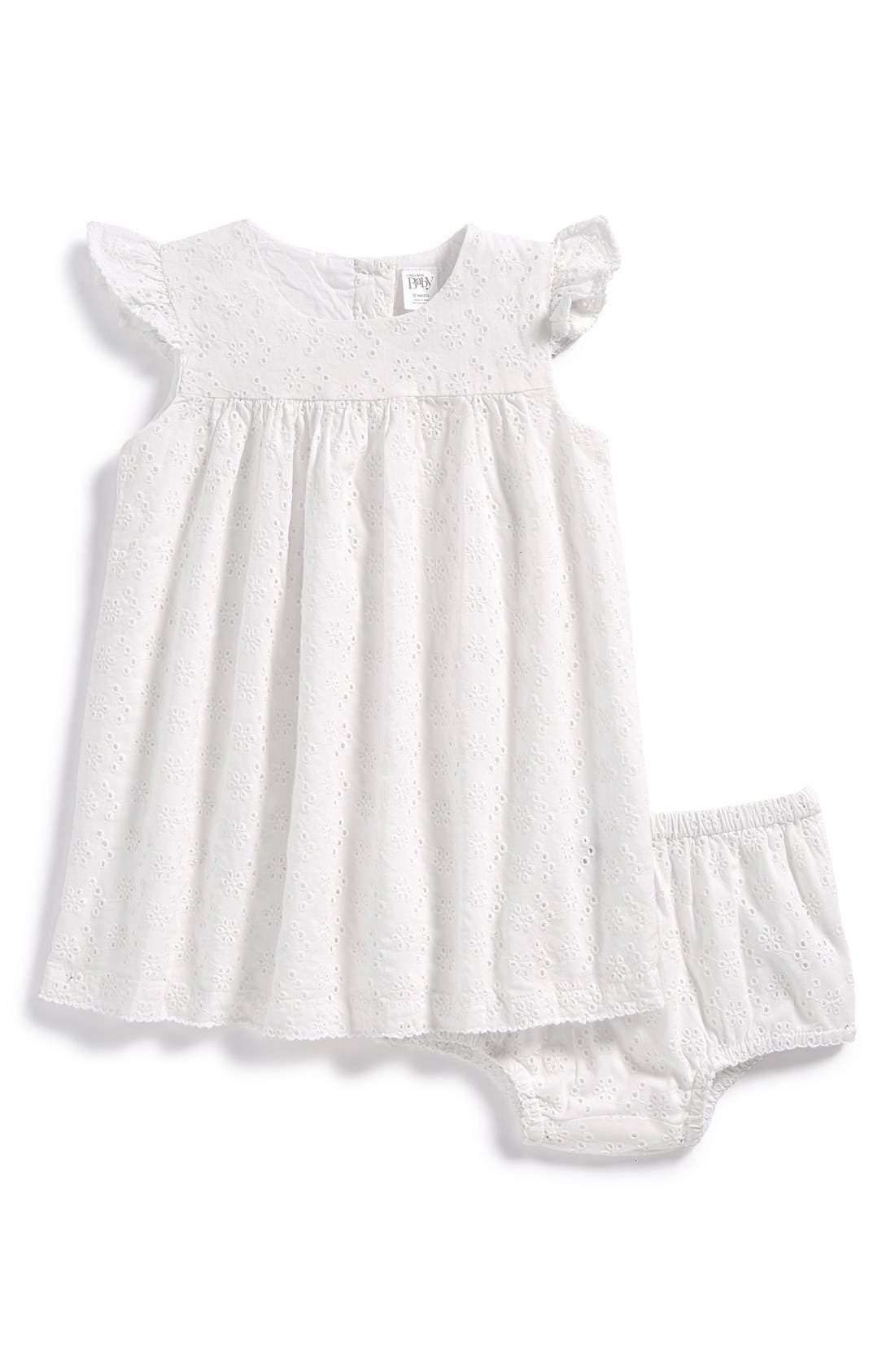 NORDSTROM BABY, Empire Dress & Bloomers, Main thumbnail 1, color, WHITE