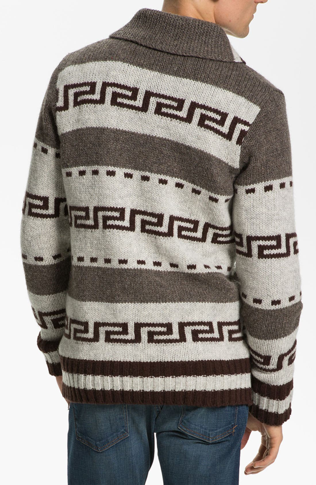 NUDIE JEANS, Nudie 'Lenny Elk' Shawl Collar Zip Sweater, Alternate thumbnail 3, color, 020