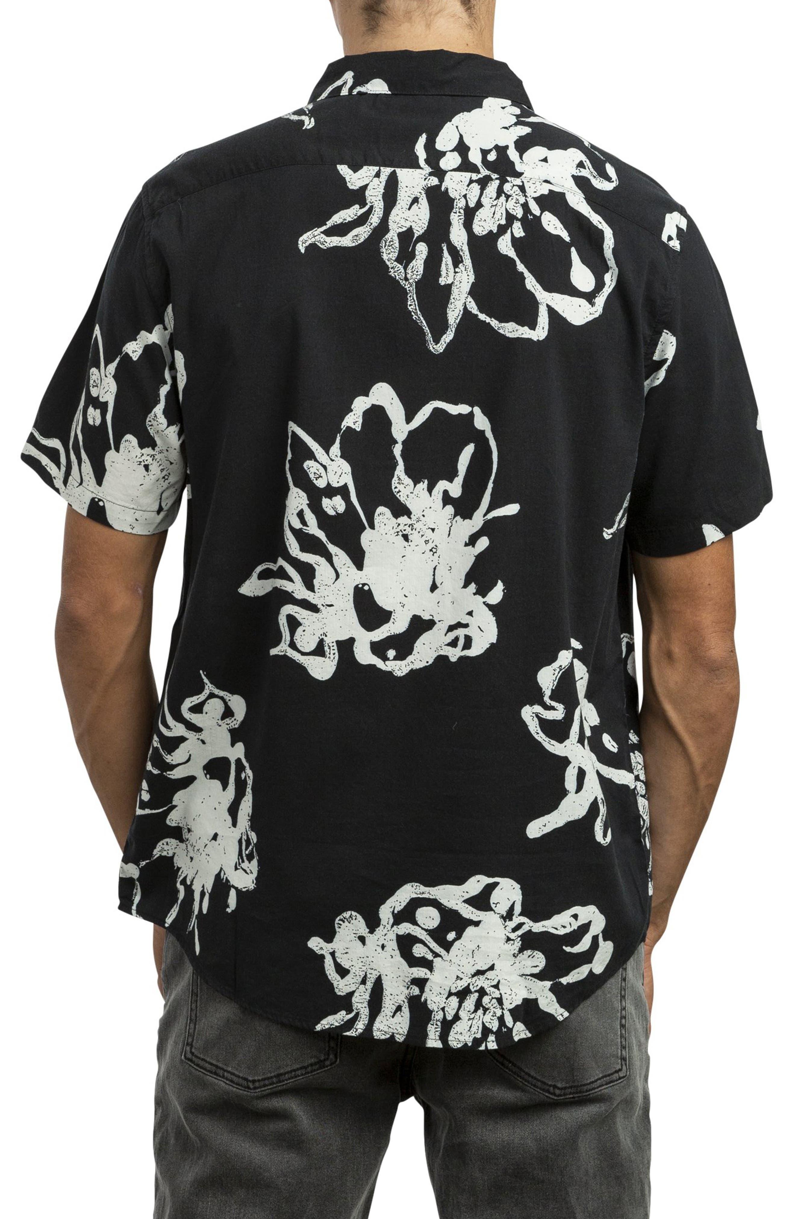 RVCA, Vaughn Linear Woven Shirt, Alternate thumbnail 2, color, BLACK