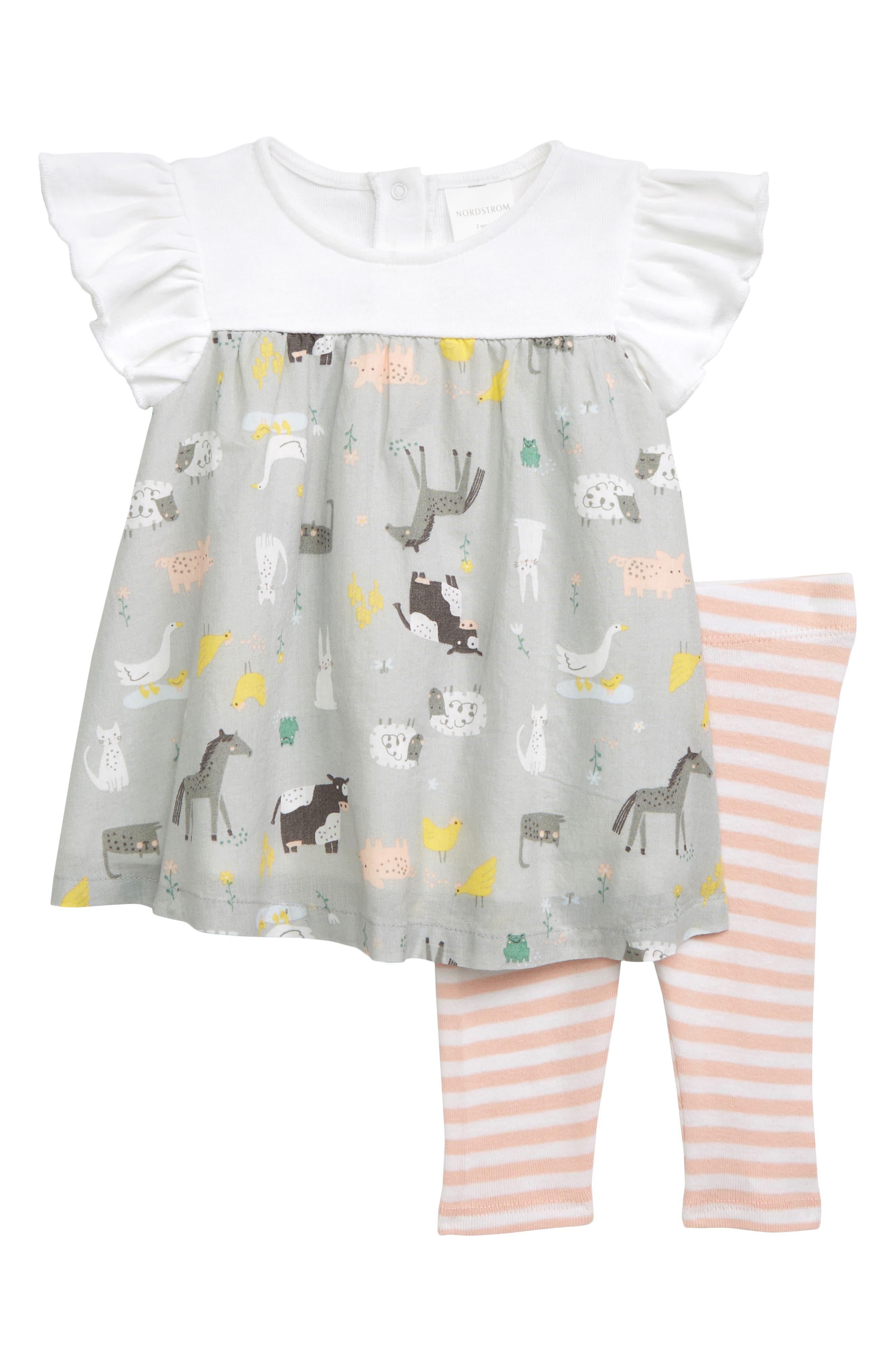 NORDSTROM BABY, Flutter Sleeve Dress & Leggings Set, Main thumbnail 1, color, GREY MICRO FARM- PINK STRIPE