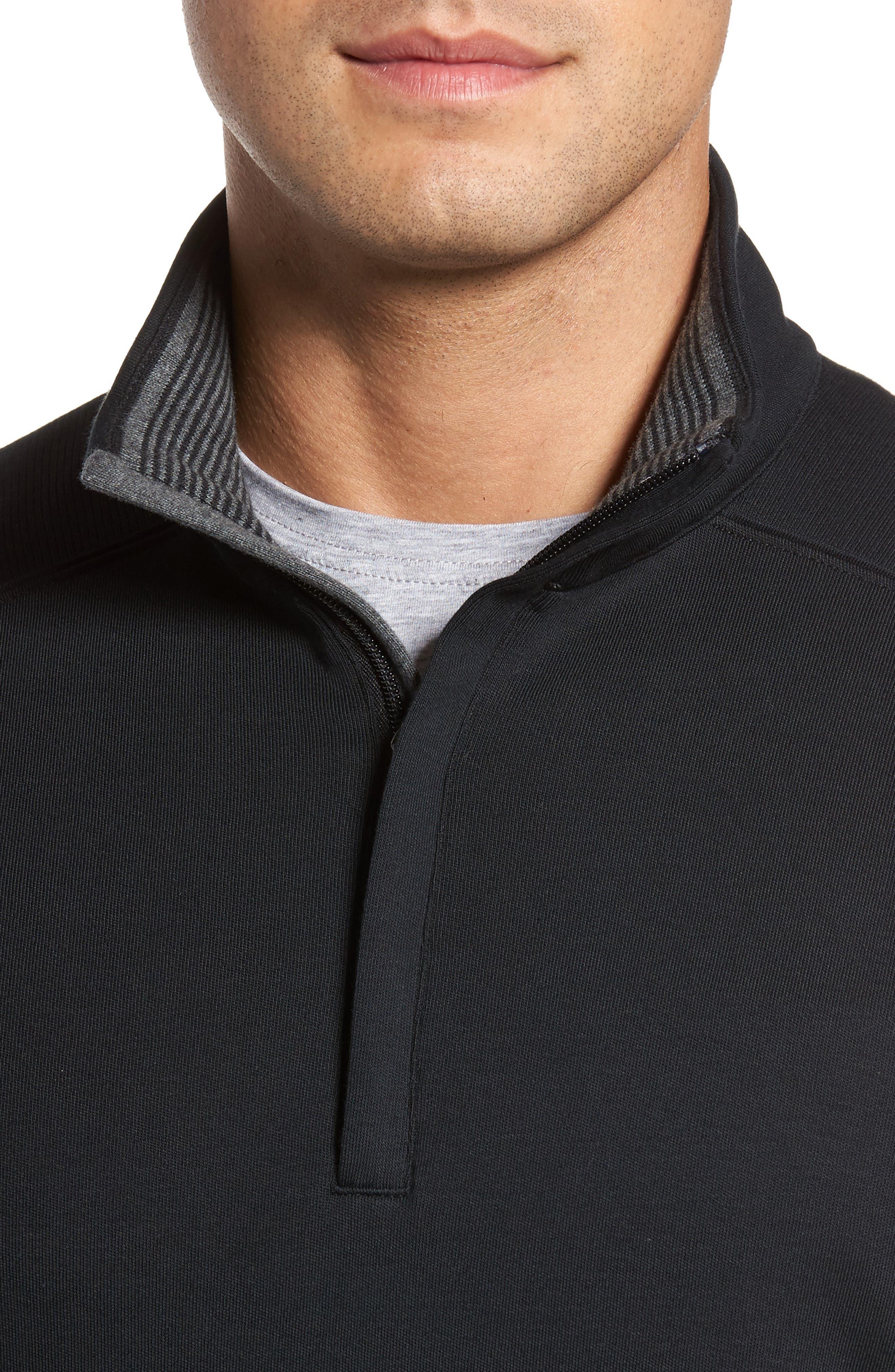 BOBBY JONES, 'New Leaderboard' Quarter Zip Pullover, Alternate thumbnail 4, color, BLACK