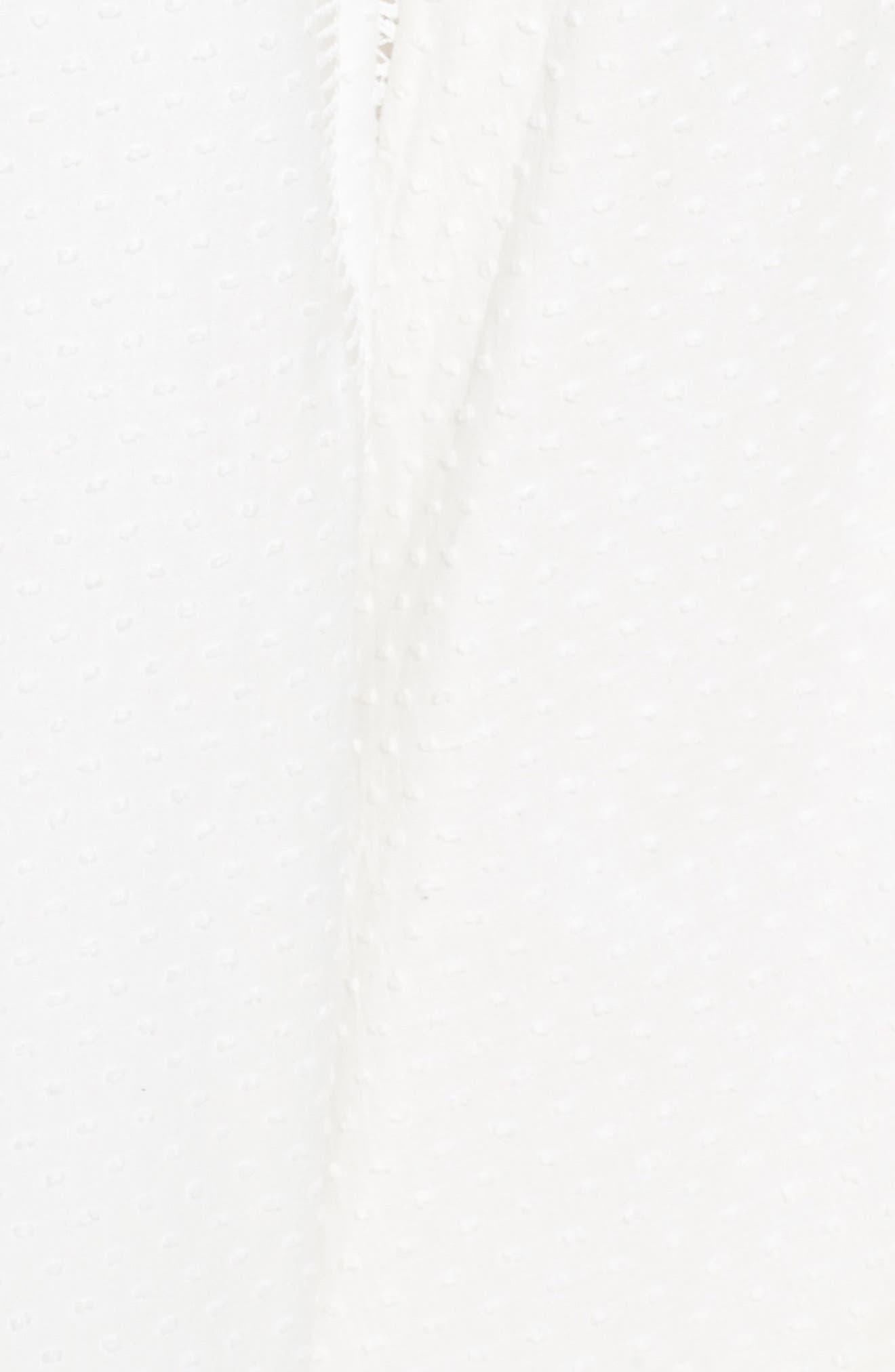 CITY CHIC, Lace Trim Swiss Dot Halter Maxi Dress, Alternate thumbnail 6, color, IVORY