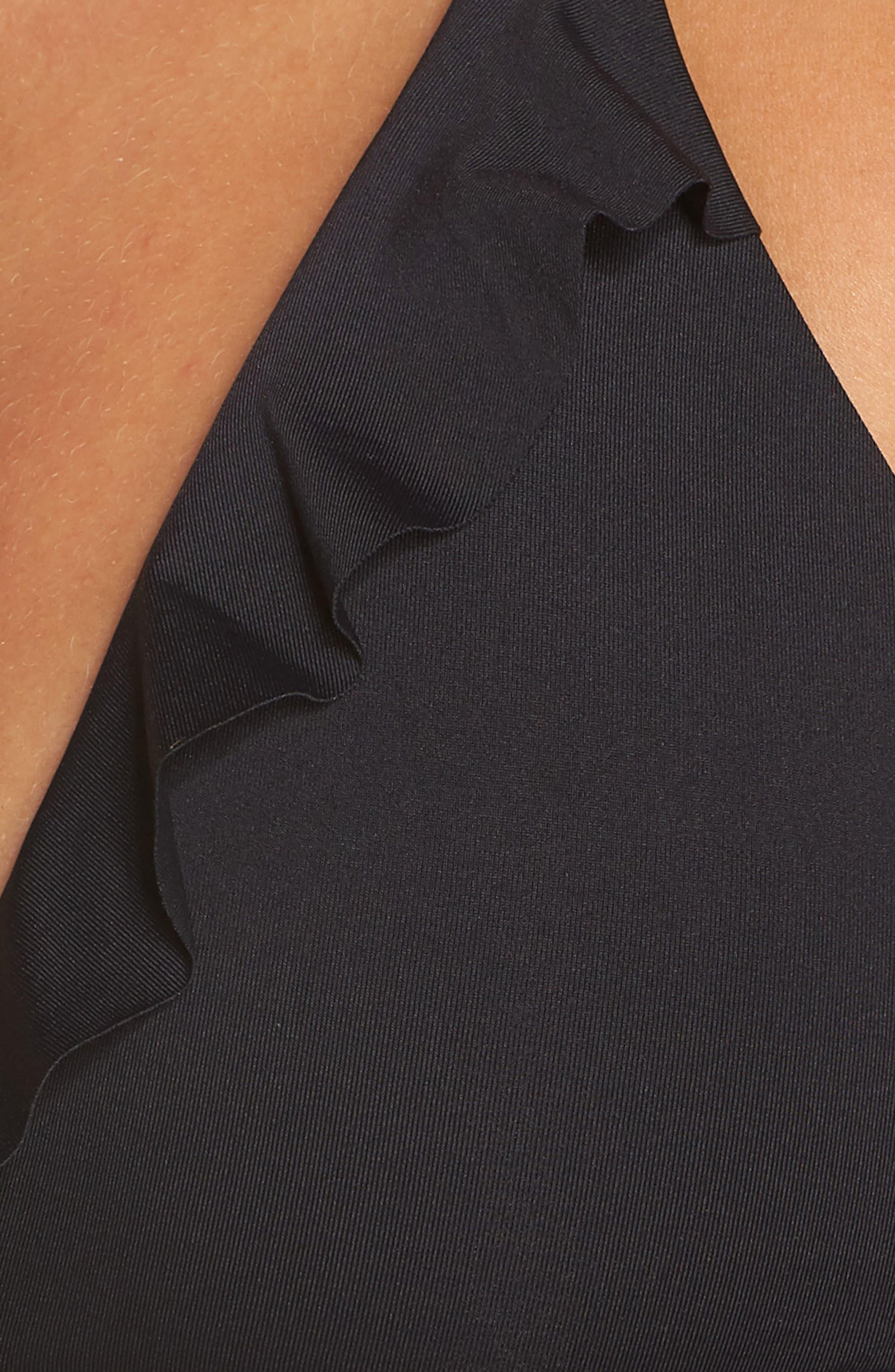BECCA, Socialite Ruffle Bikini Top, Alternate thumbnail 6, color, BLACK