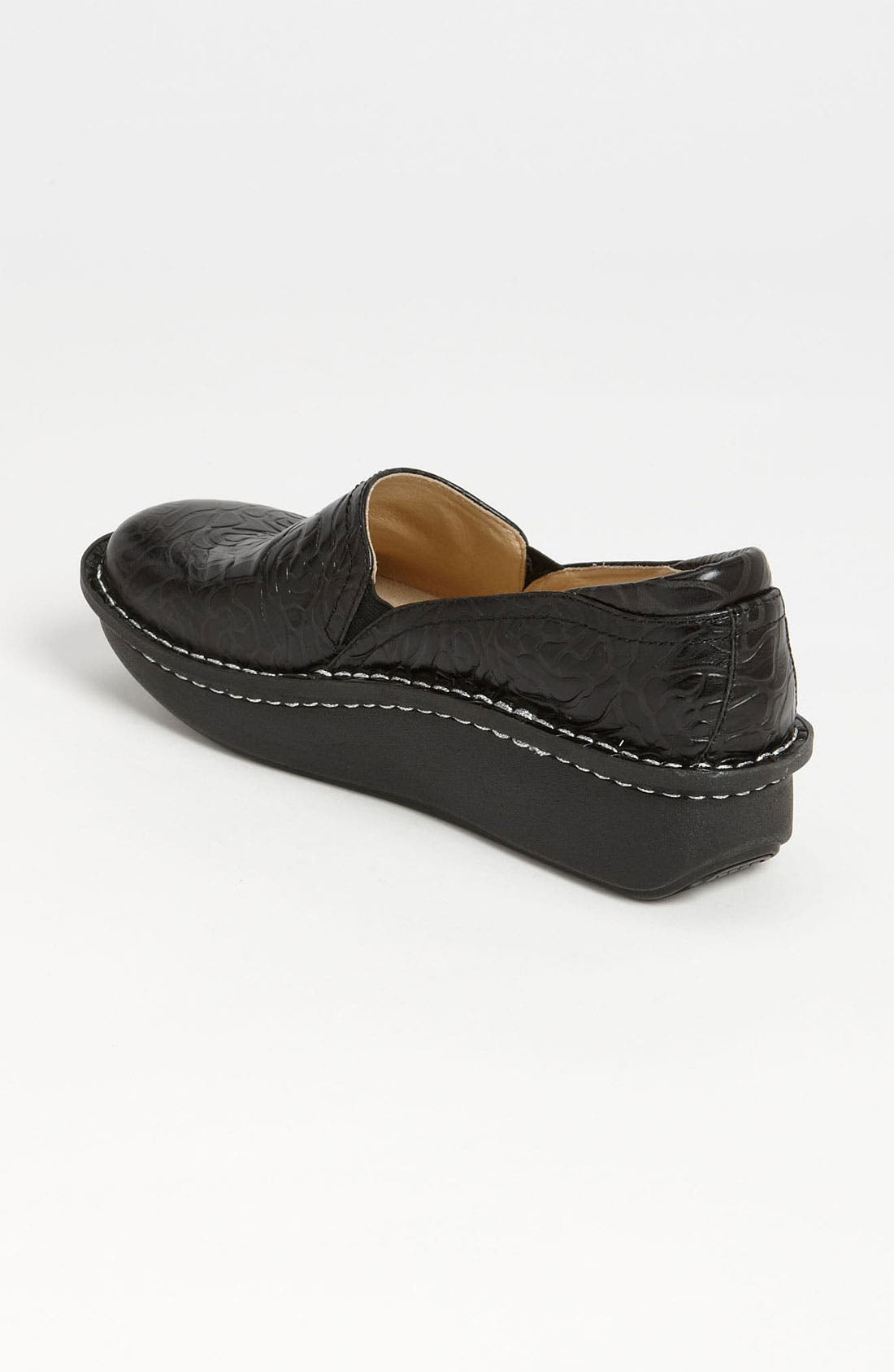 ALEGRIA, 'Debra' Slip-On, Alternate thumbnail 4, color, BLACK EMBOSSED ROSE LEATHER