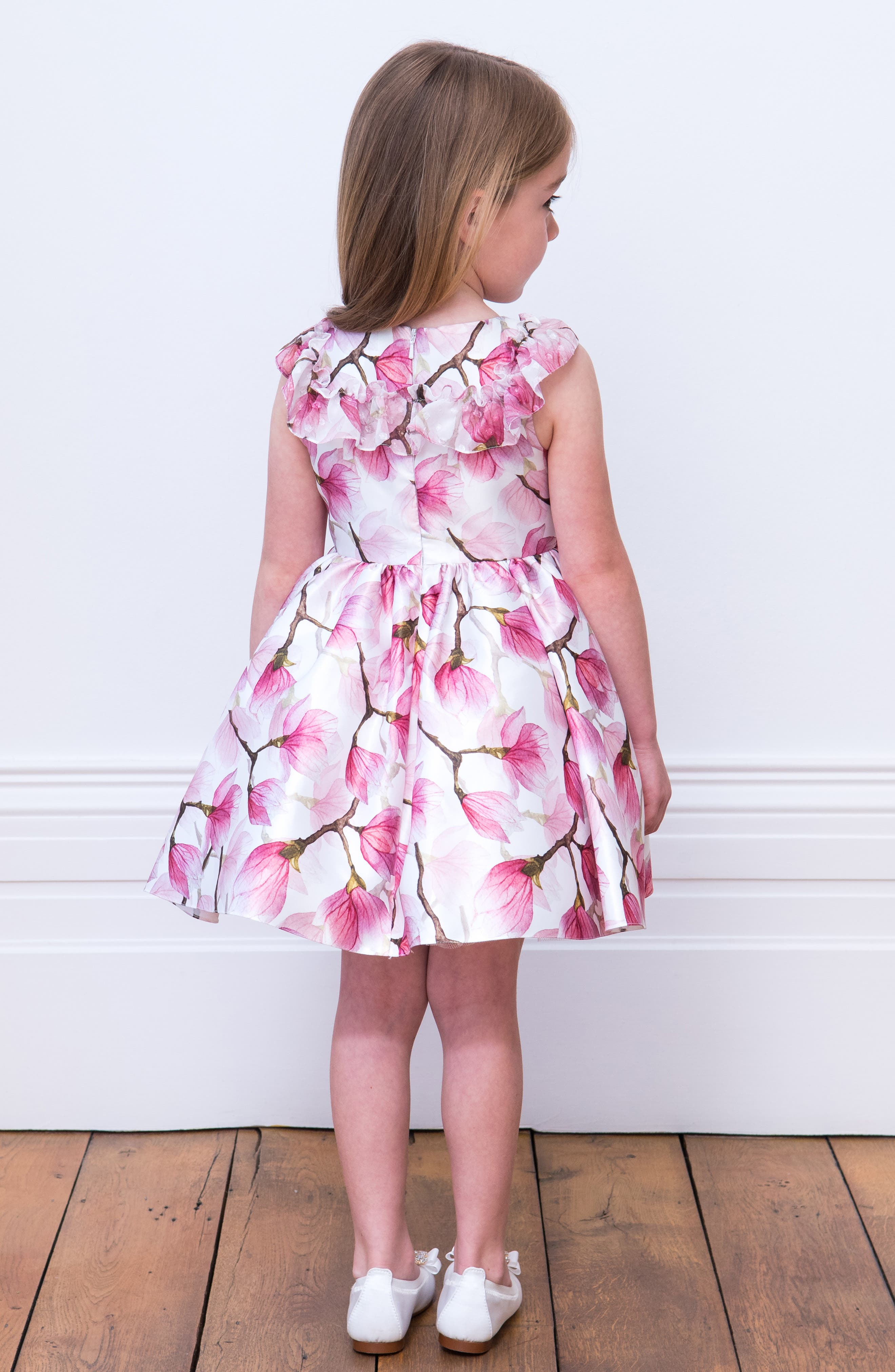 DAVID CHARLES, Floral Ruffle Party Dress, Alternate thumbnail 4, color, PINK