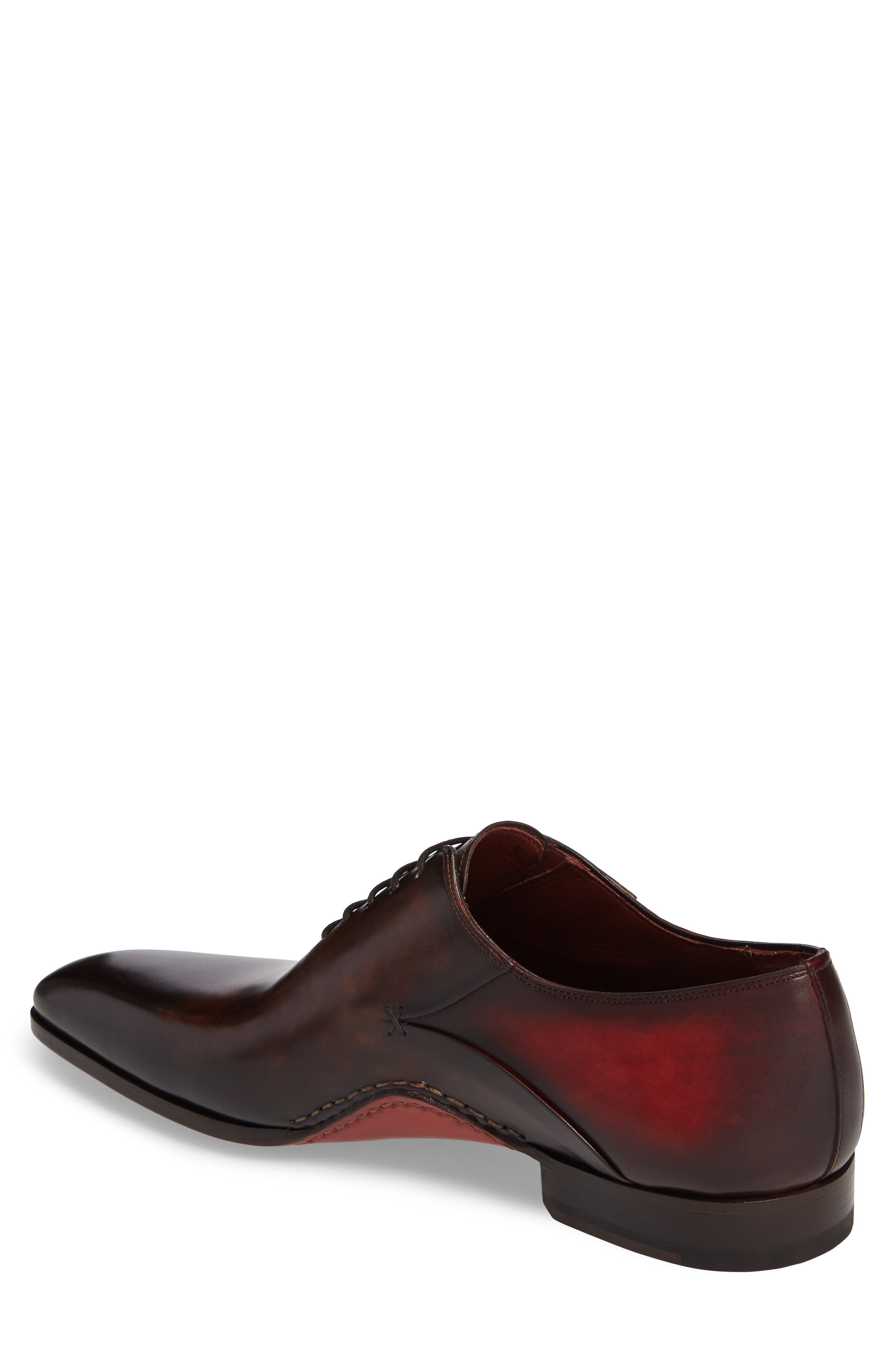 MAGNANNI, Cantabria Plain Toe Oxford, Alternate thumbnail 2, color, BROWN/ RED LEATHER
