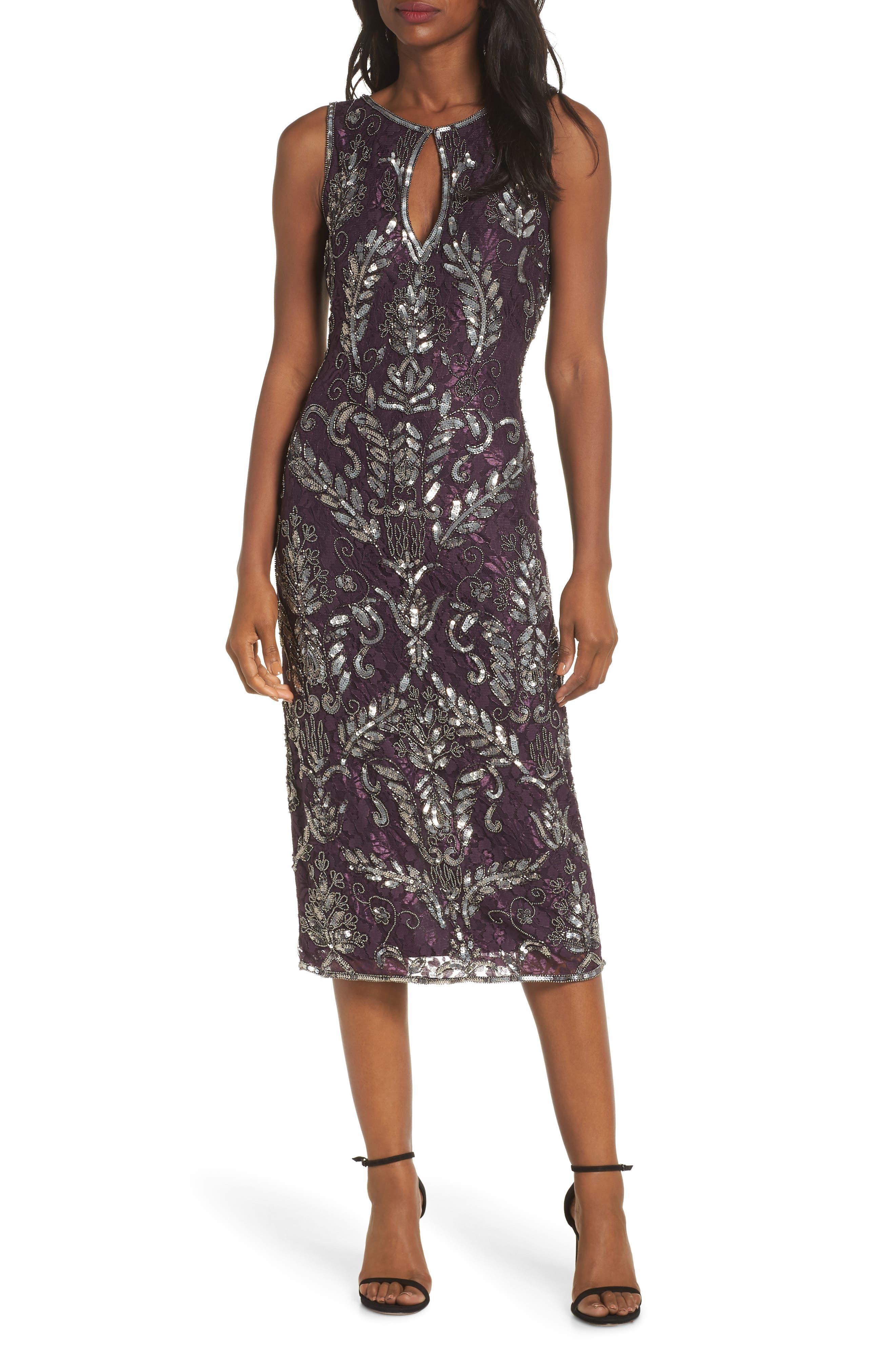 PISARRO NIGHTS Sequin Lace Sheath Dress, Main, color, WINE