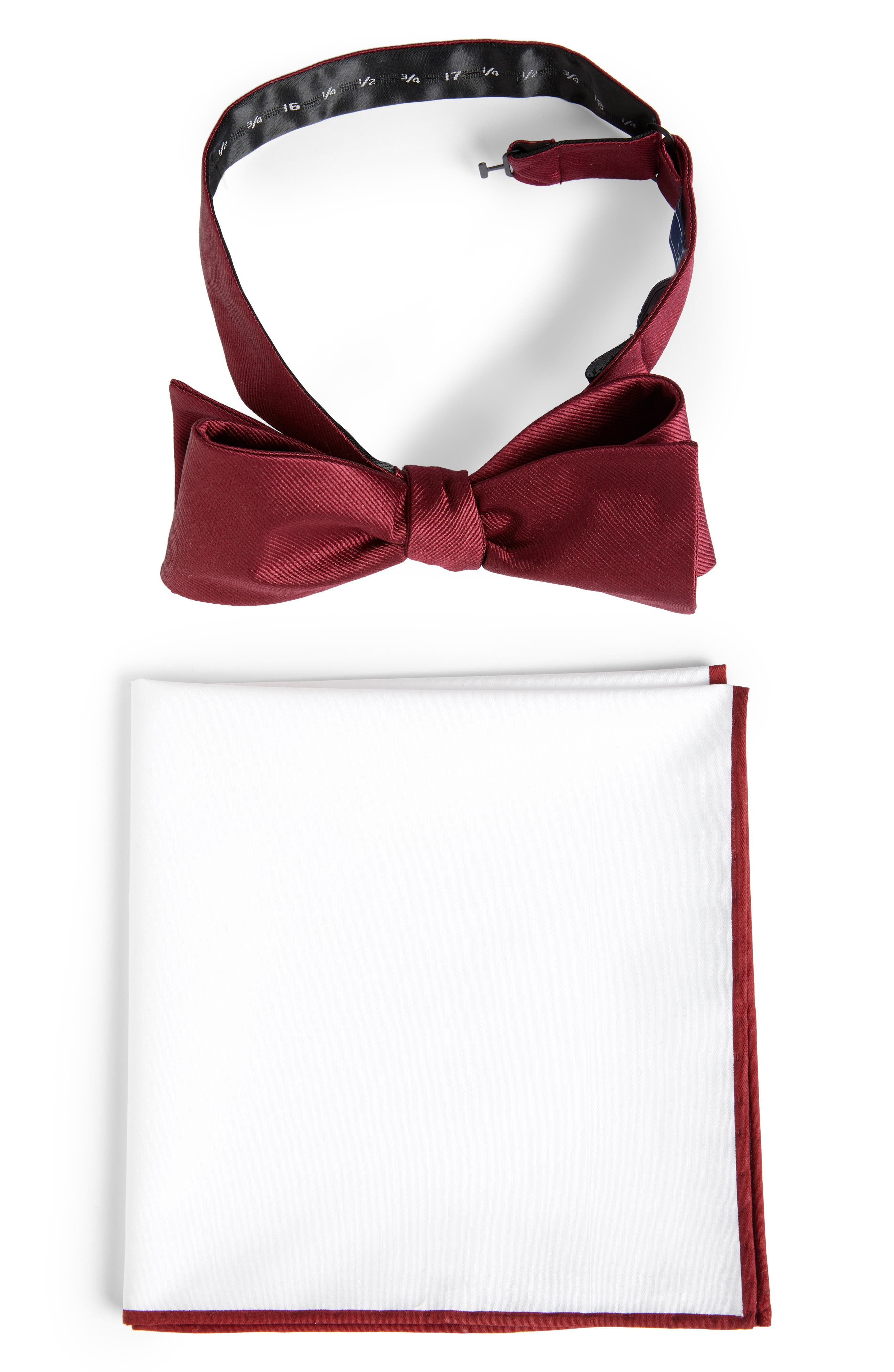 THE TIE BAR, Formal Silk Bow Tie & Cotton Pocket Square Style Box, Main thumbnail 1, color, 930