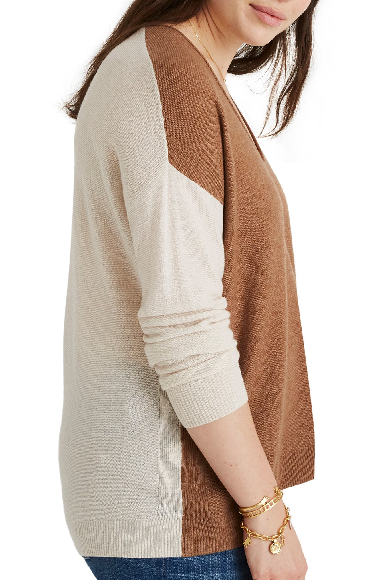 MADEWELL, Kimball Colorblock Sweater, Alternate thumbnail 8, color, 021