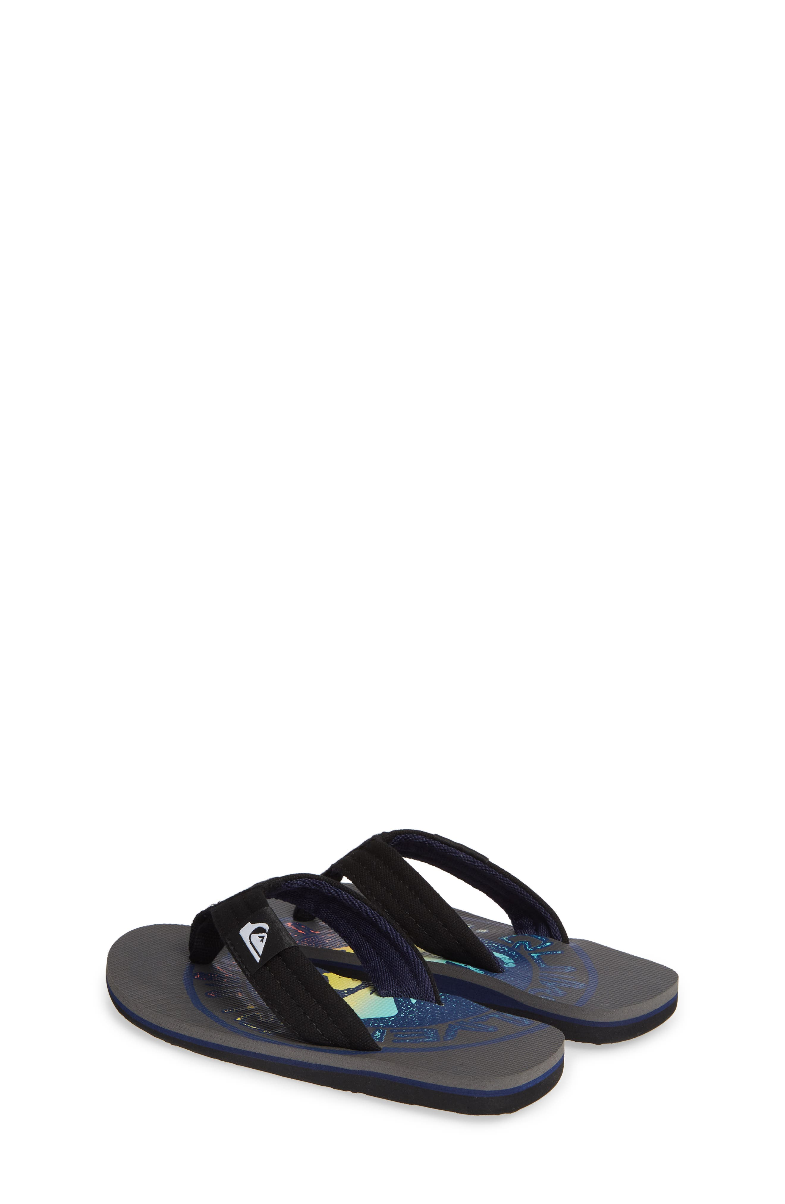 QUIKSILVER, Molokai Layback Flip Flop, Alternate thumbnail 3, color, GREY/ BLACK/ BLUE