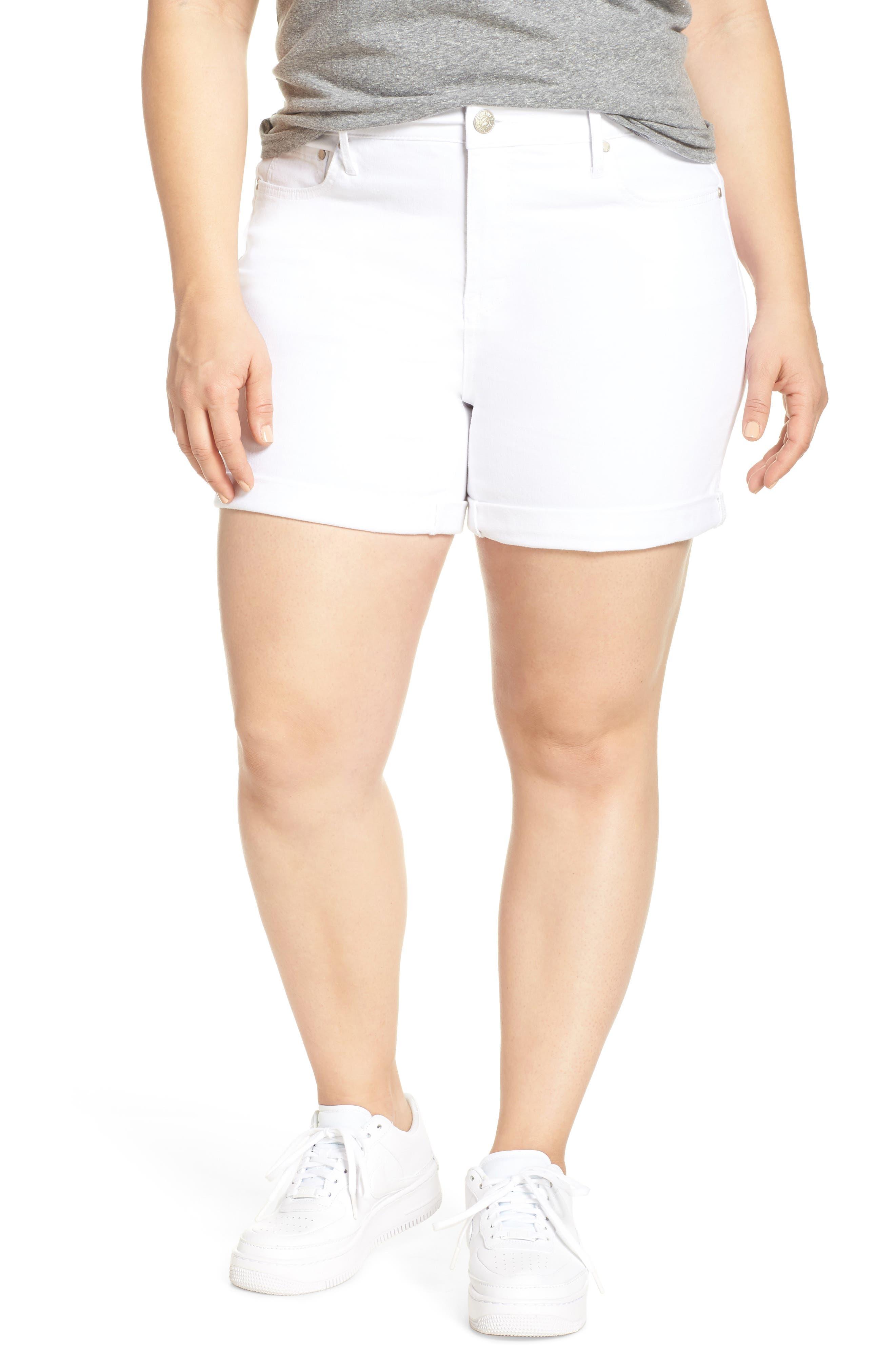 SEVEN7, High Waist Stretch Denim Shorts, Main thumbnail 1, color, BLANC DE BLANC