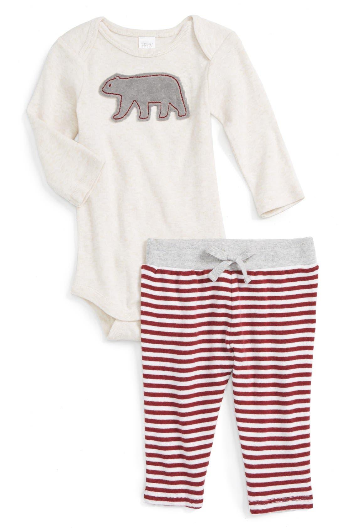 NORDSTROM BABY, Appliqué Bodysuit & Pants Set, Main thumbnail 1, color, 900