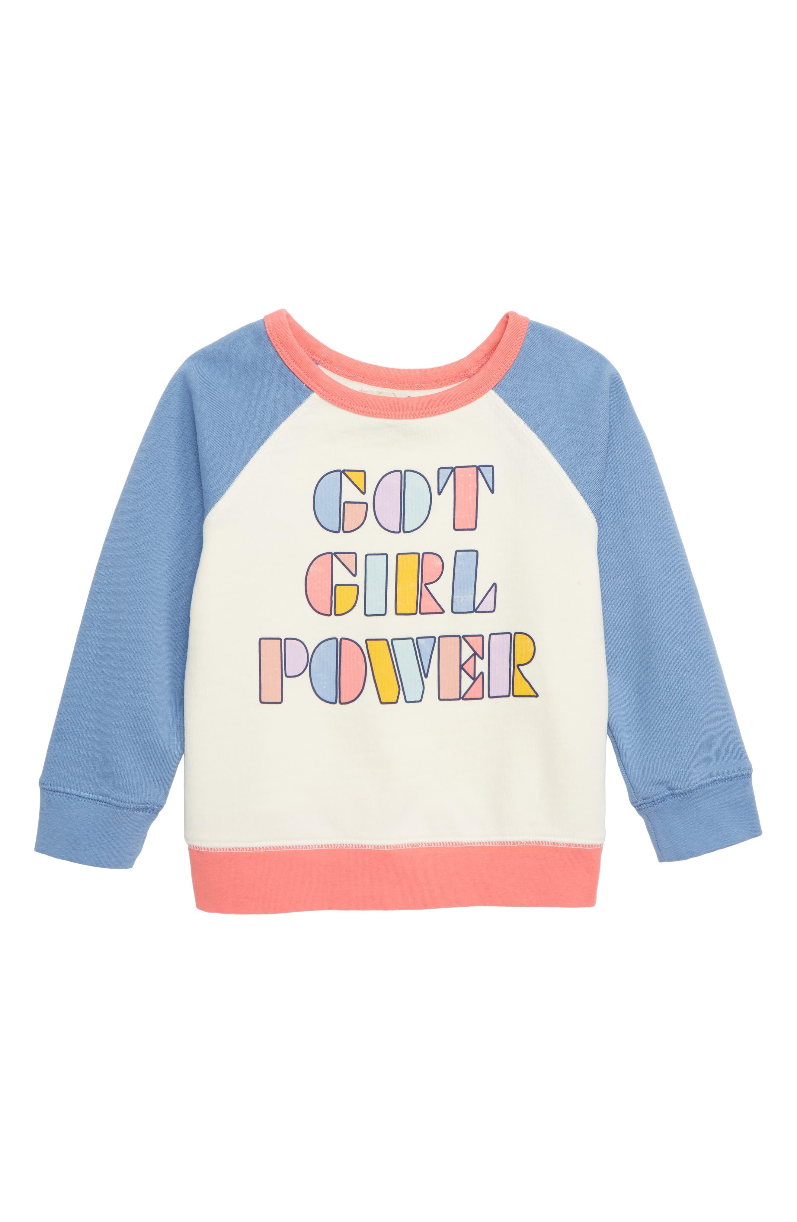 Girls Peek ArenT You Curious Got Girl Power Raglan Sweatshirt Size 45  White