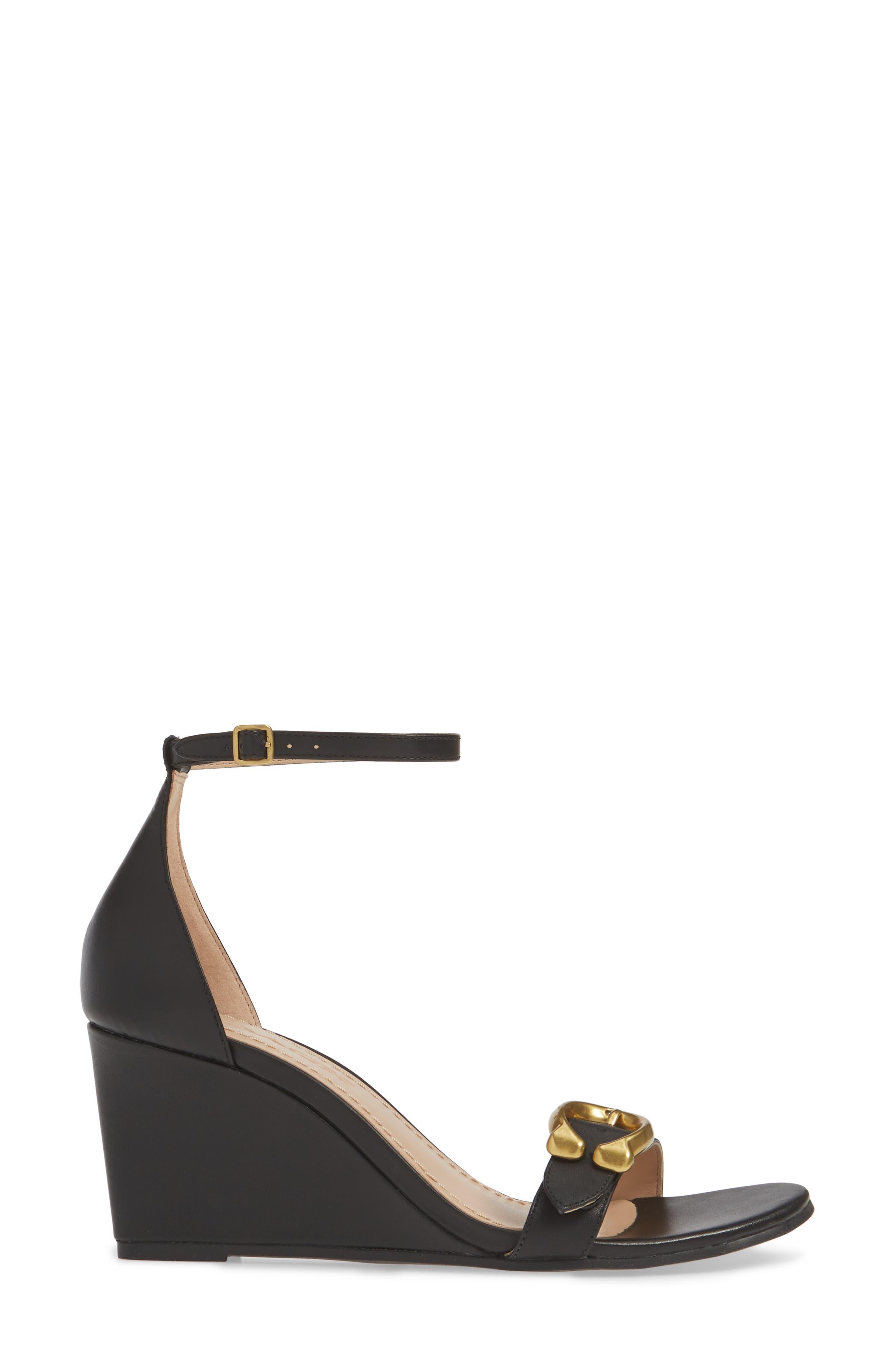 COACH, Odetta Wedge Ankle Strap Sandal, Alternate thumbnail 3, color, BLACK LEATHER